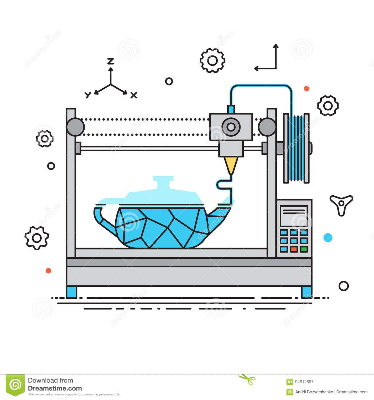 3d printer lines design vector illustration the printing for 3d flat design online