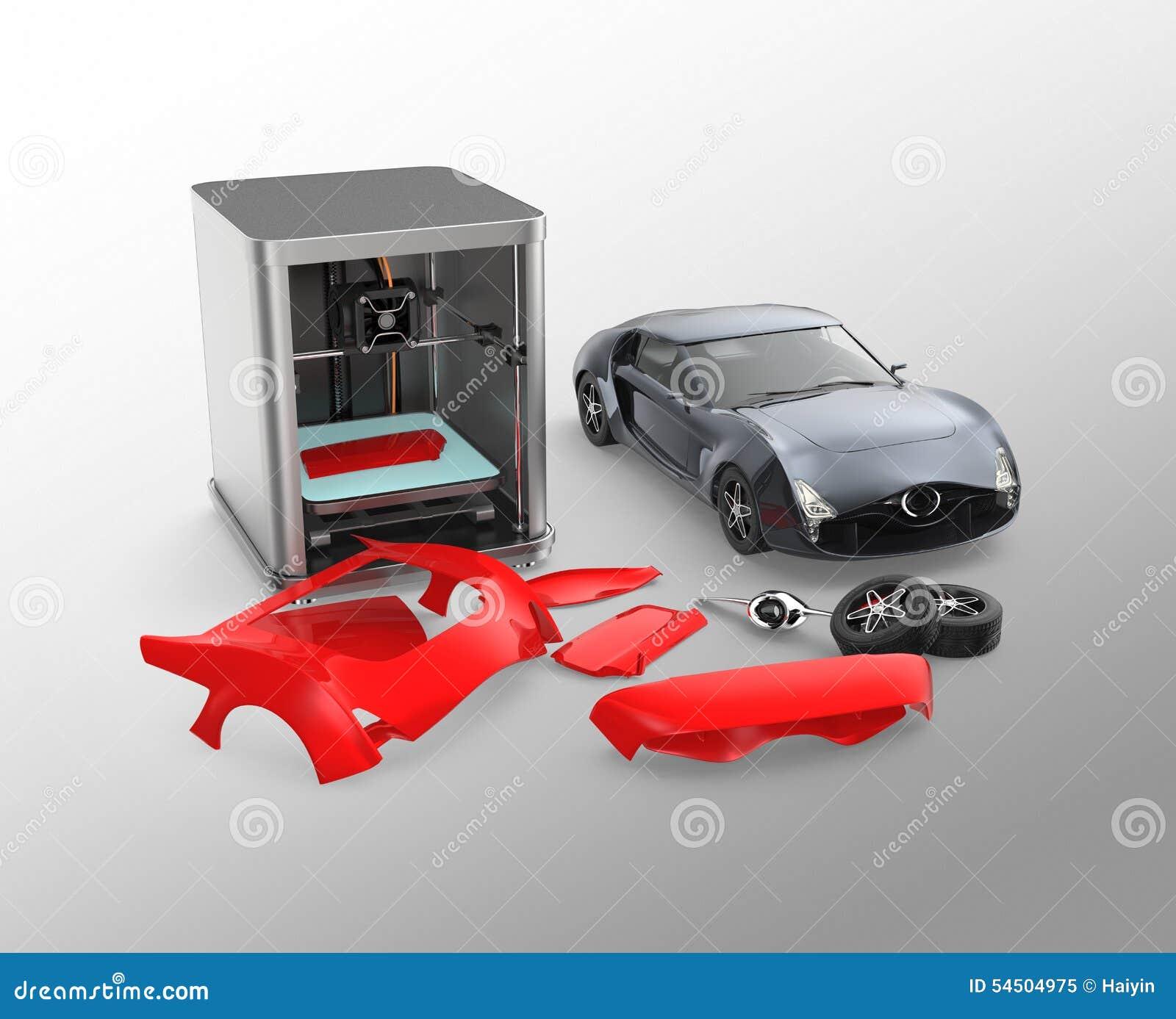 3D Printer Printing Car Body Parts Stock Illustration