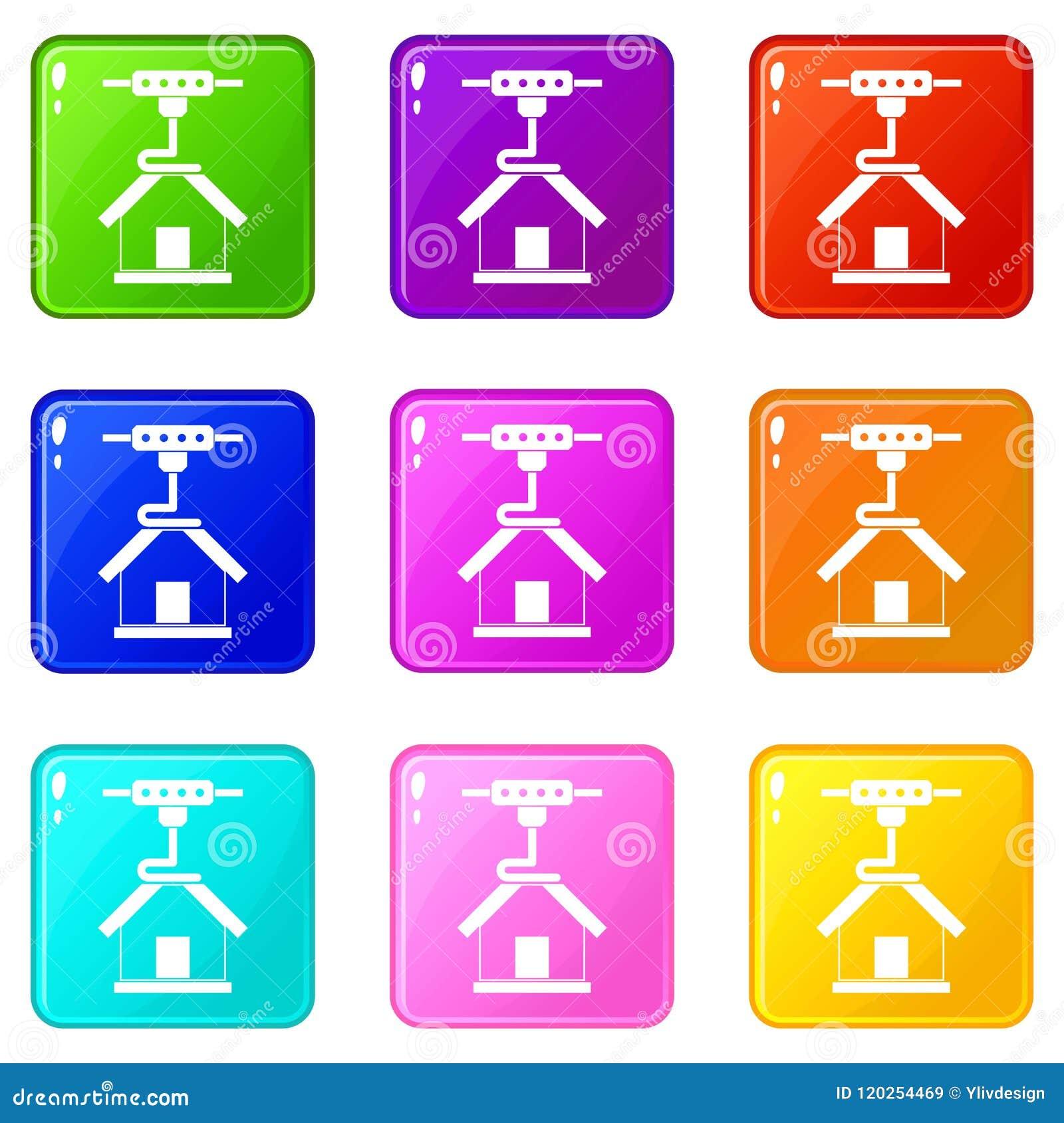 3d Printer Printing House Set 9 Stock Vector - Illustration of ...