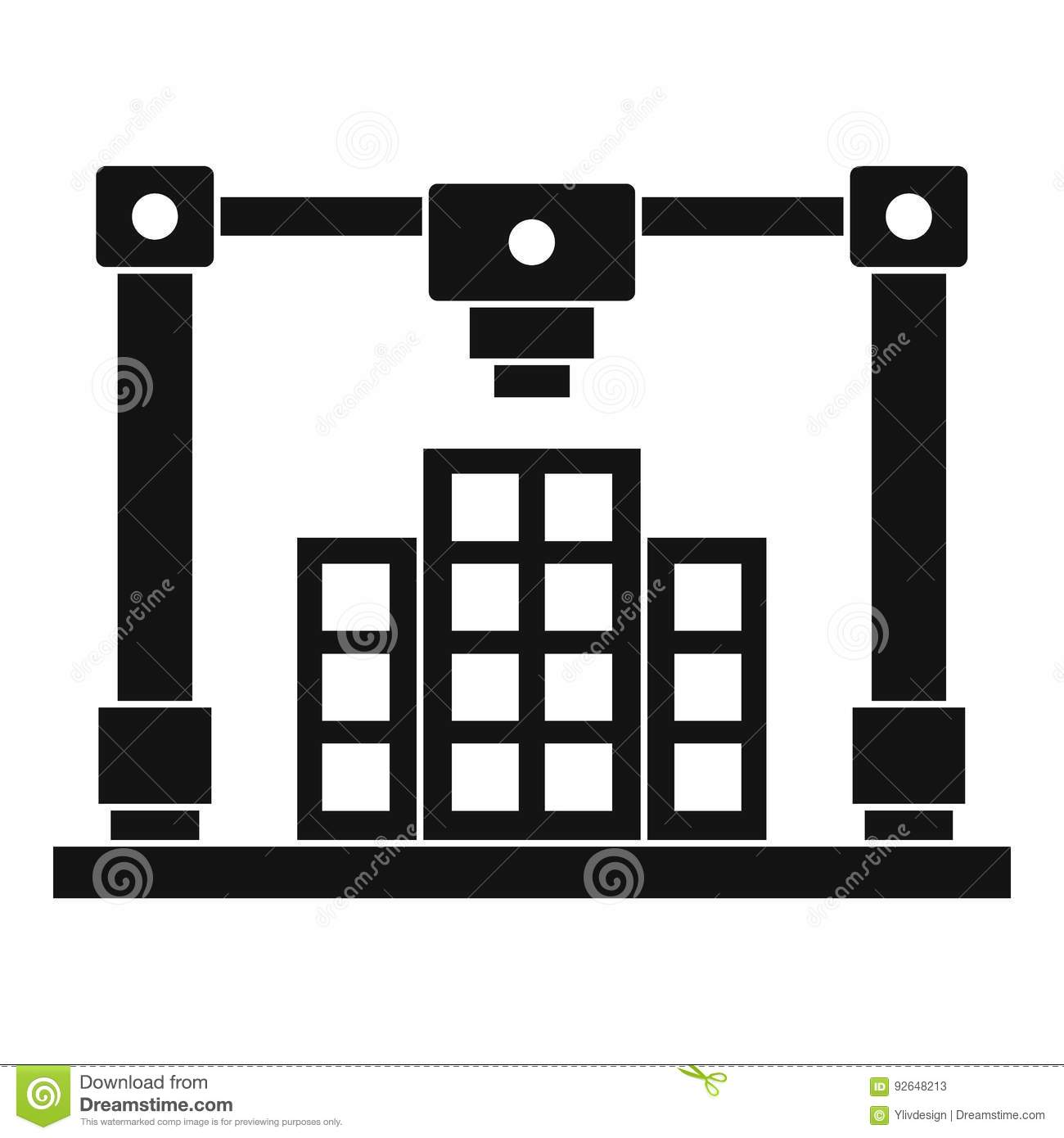 3d Printer Printing Layout Of Building Icon Simple Stock Vector ...