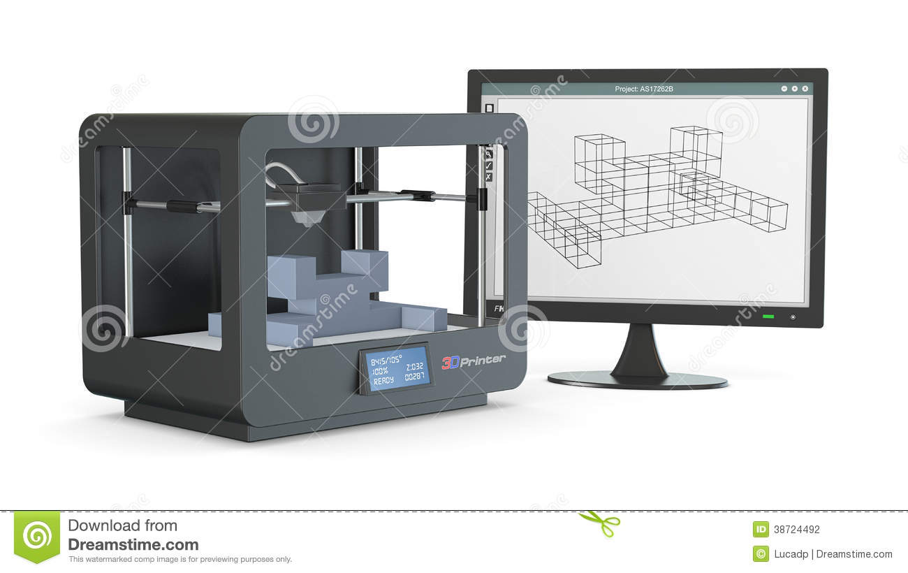 3d Printer From Sketch To Prototype Stock Illustration