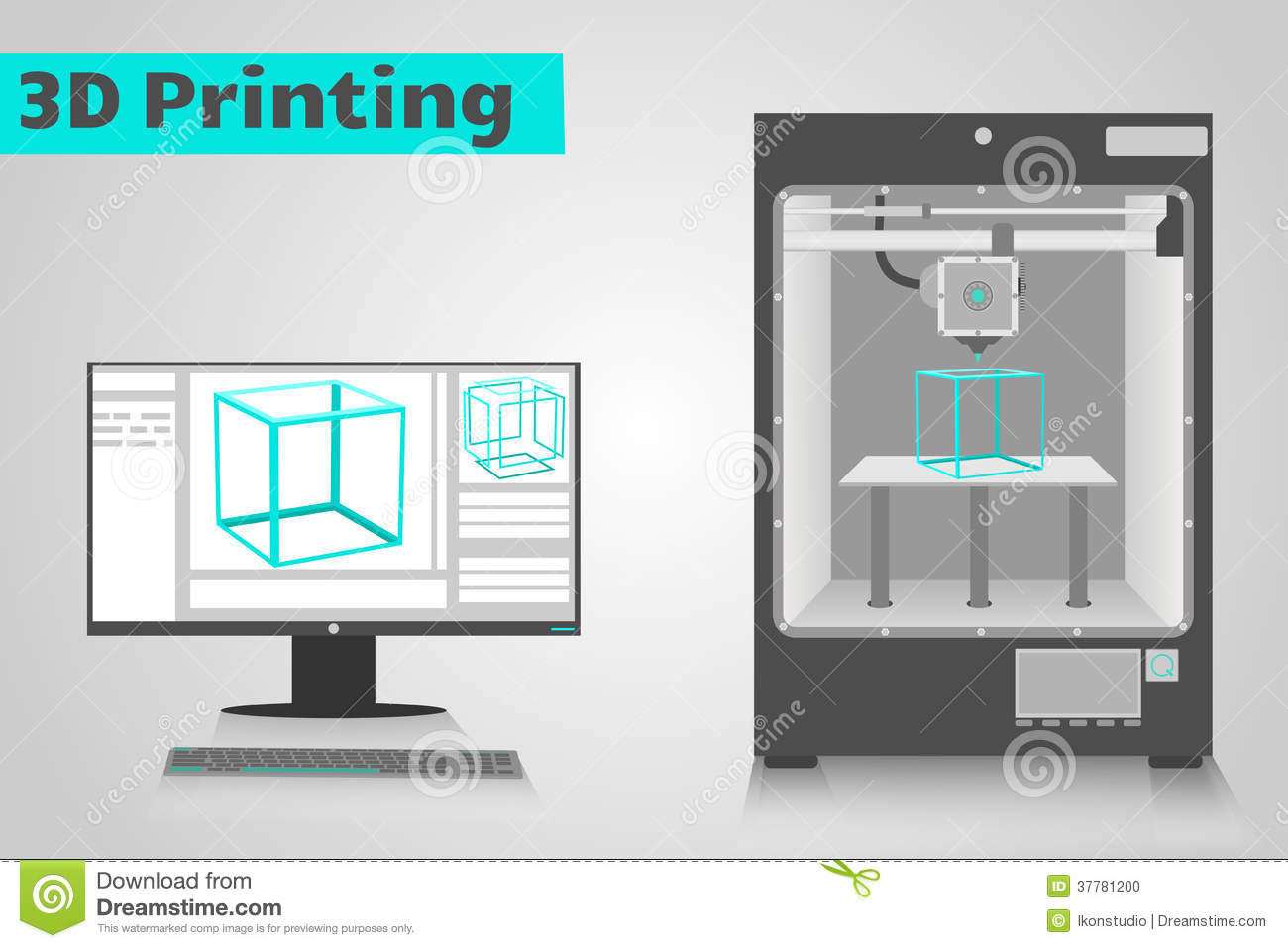 3d Printing With Computer Stock Photo Image 37781200