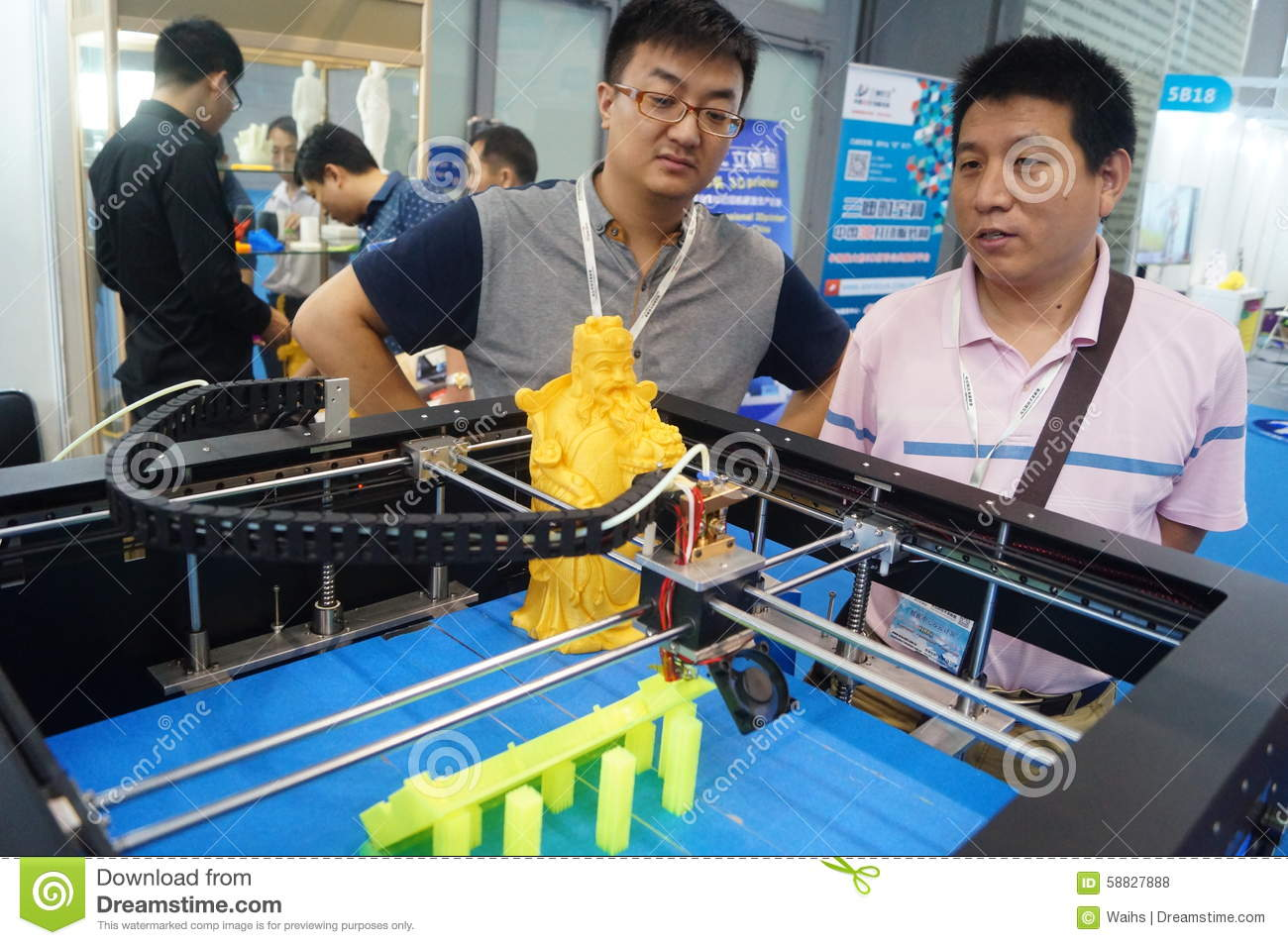 D Printing Exhibition China : D printing equipment in operation editorial stock photo image