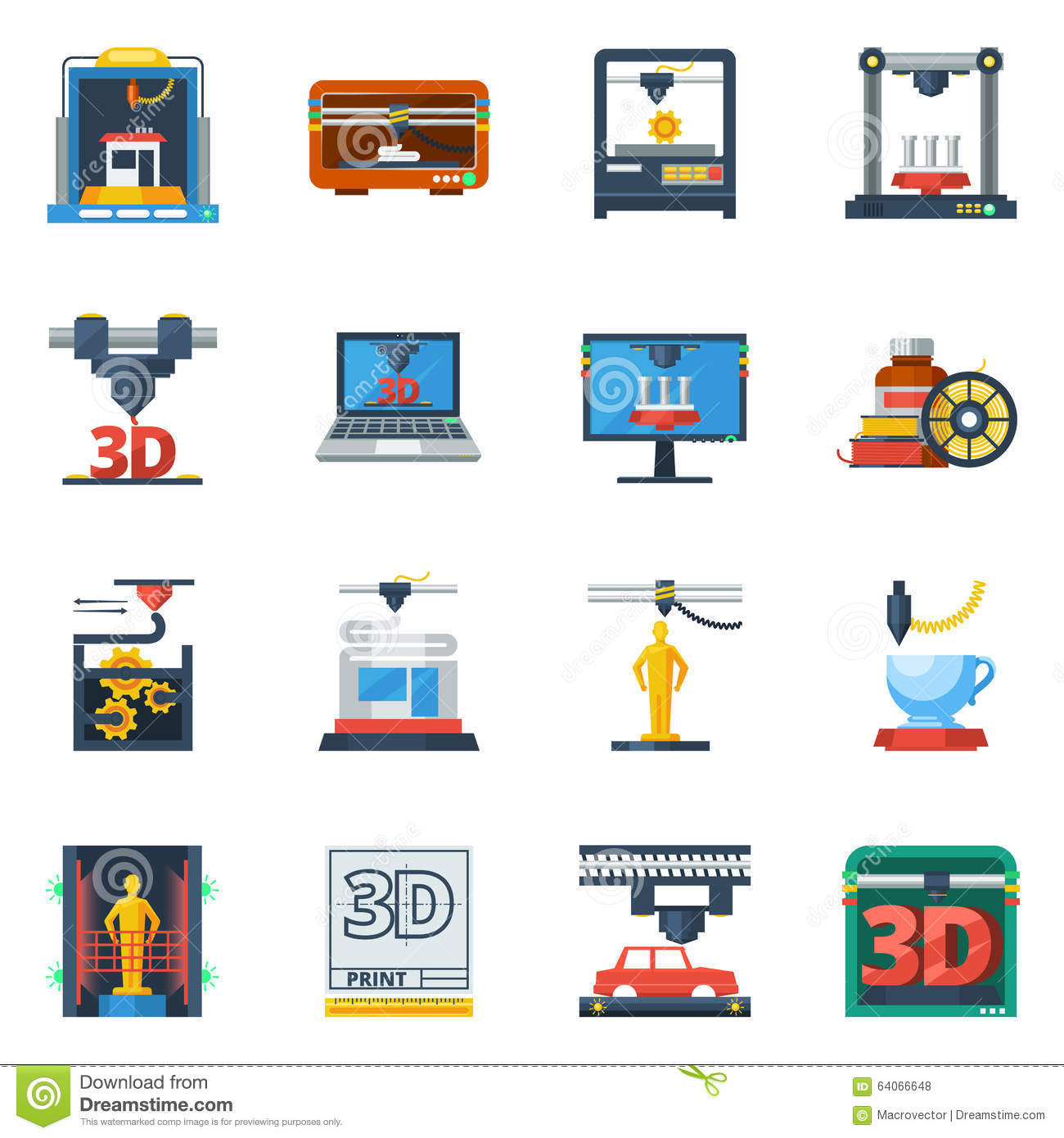 3D Printing Flat Icons Collection Stock Vector - Illustration of