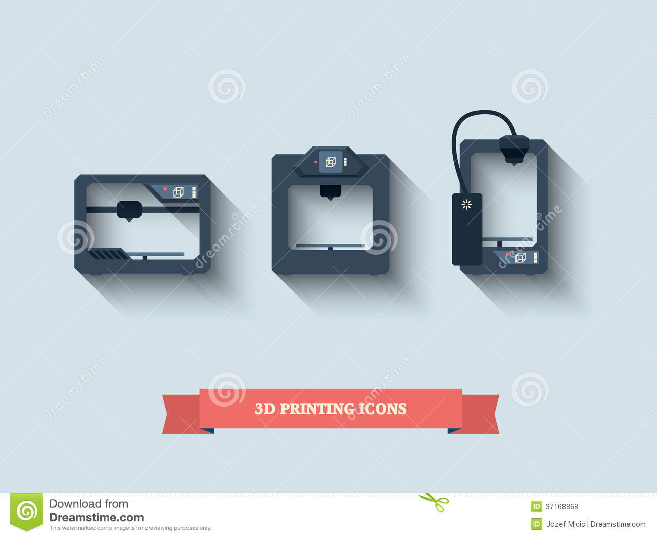 3d printing icons stock vector image of objects plastics 3d printer design software