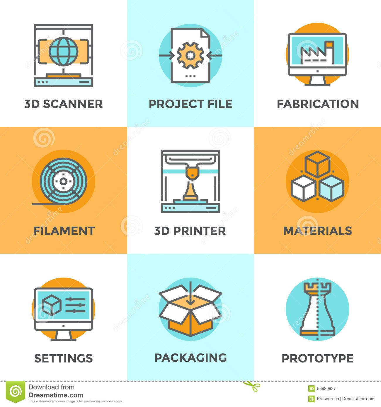 3d Printing Line Icons Set Stock Vector Image Of Flat