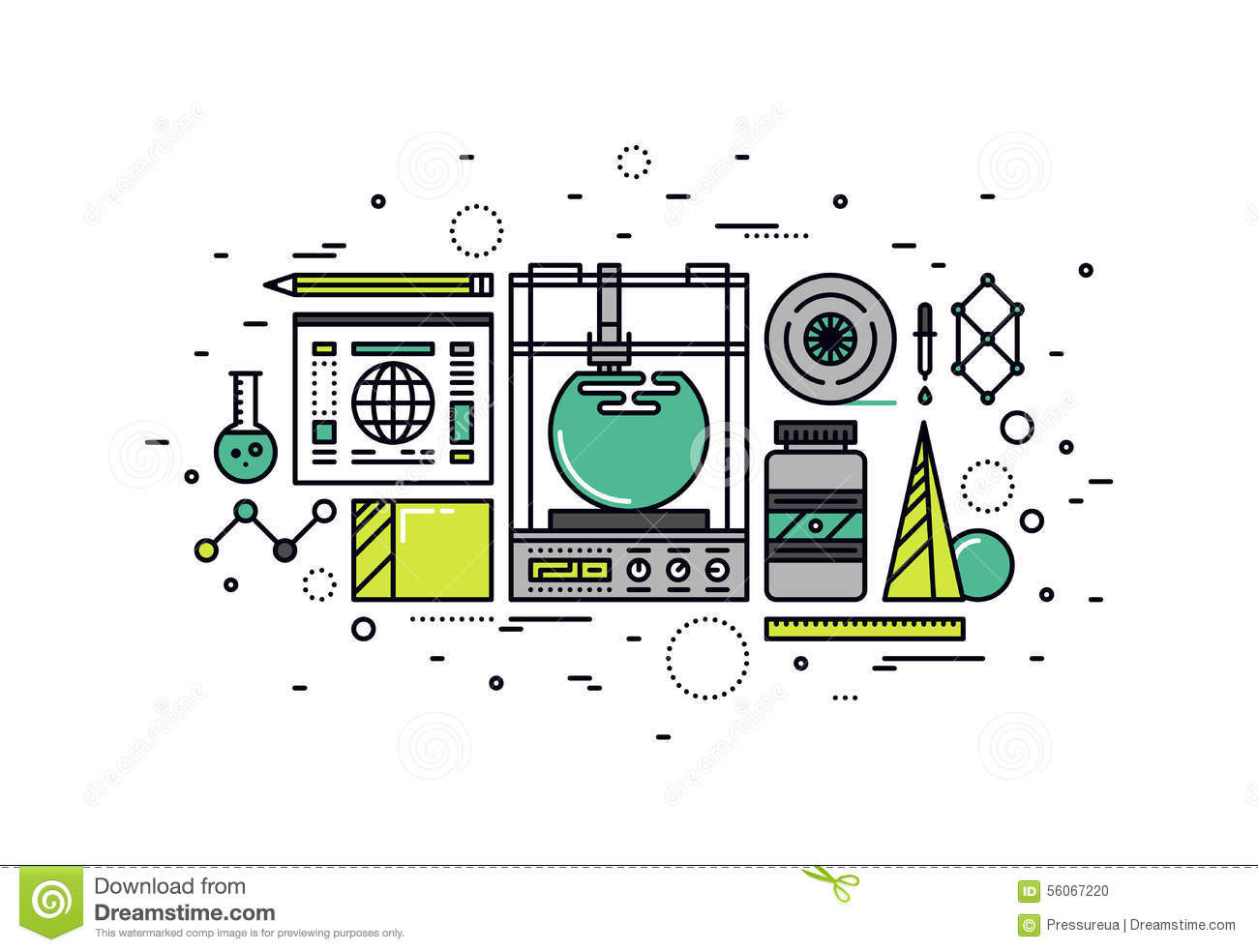 3d printing line style illustration stock vector image for 3d flat design online