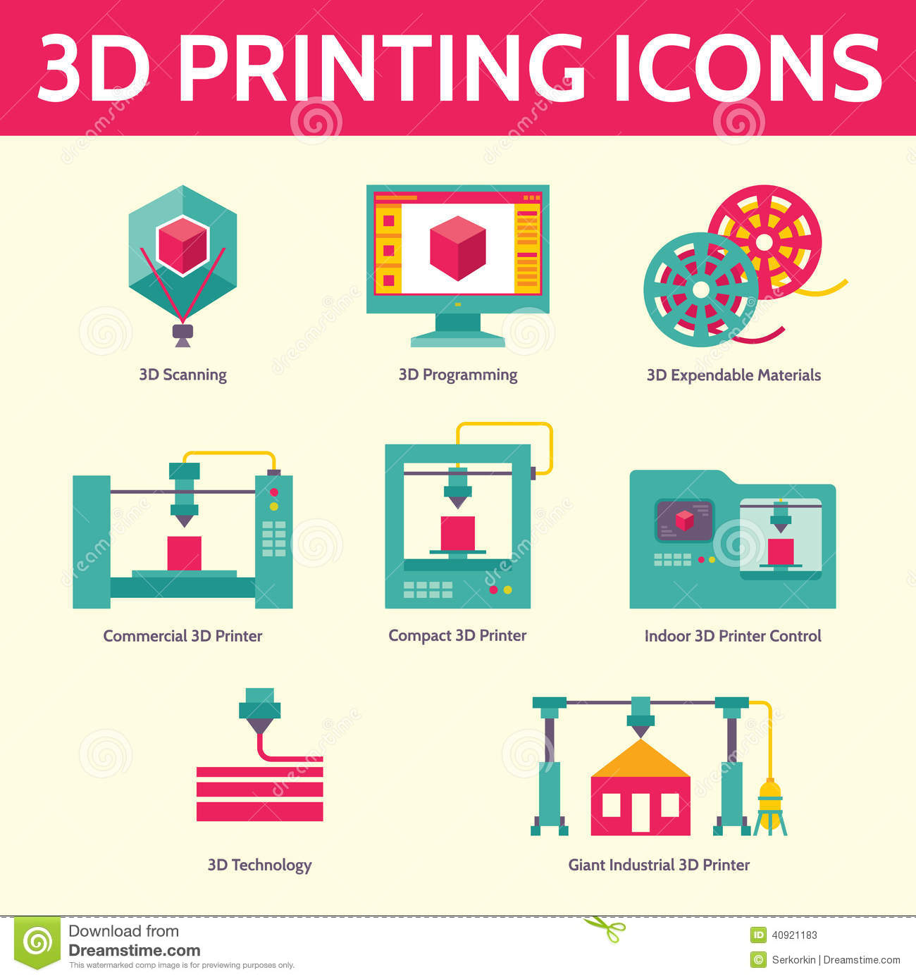3D Printing Vector Icons In Flat Design Style Stock Vector