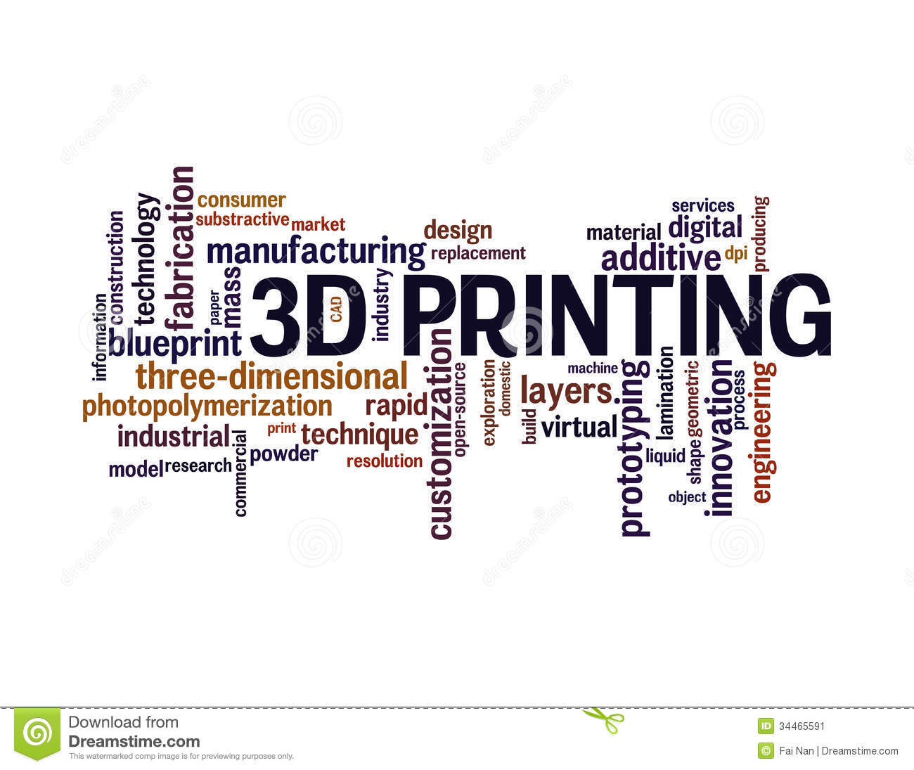 3d Printing Word Cloud Stock Illustration. Illustration Of