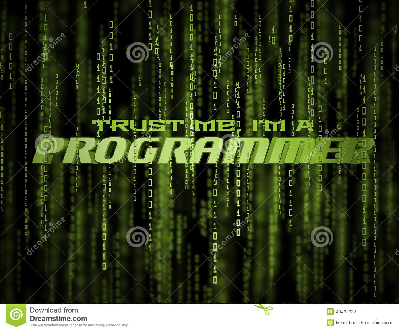 3D Programmer Matrix Stock Illustration - Image: 49432932