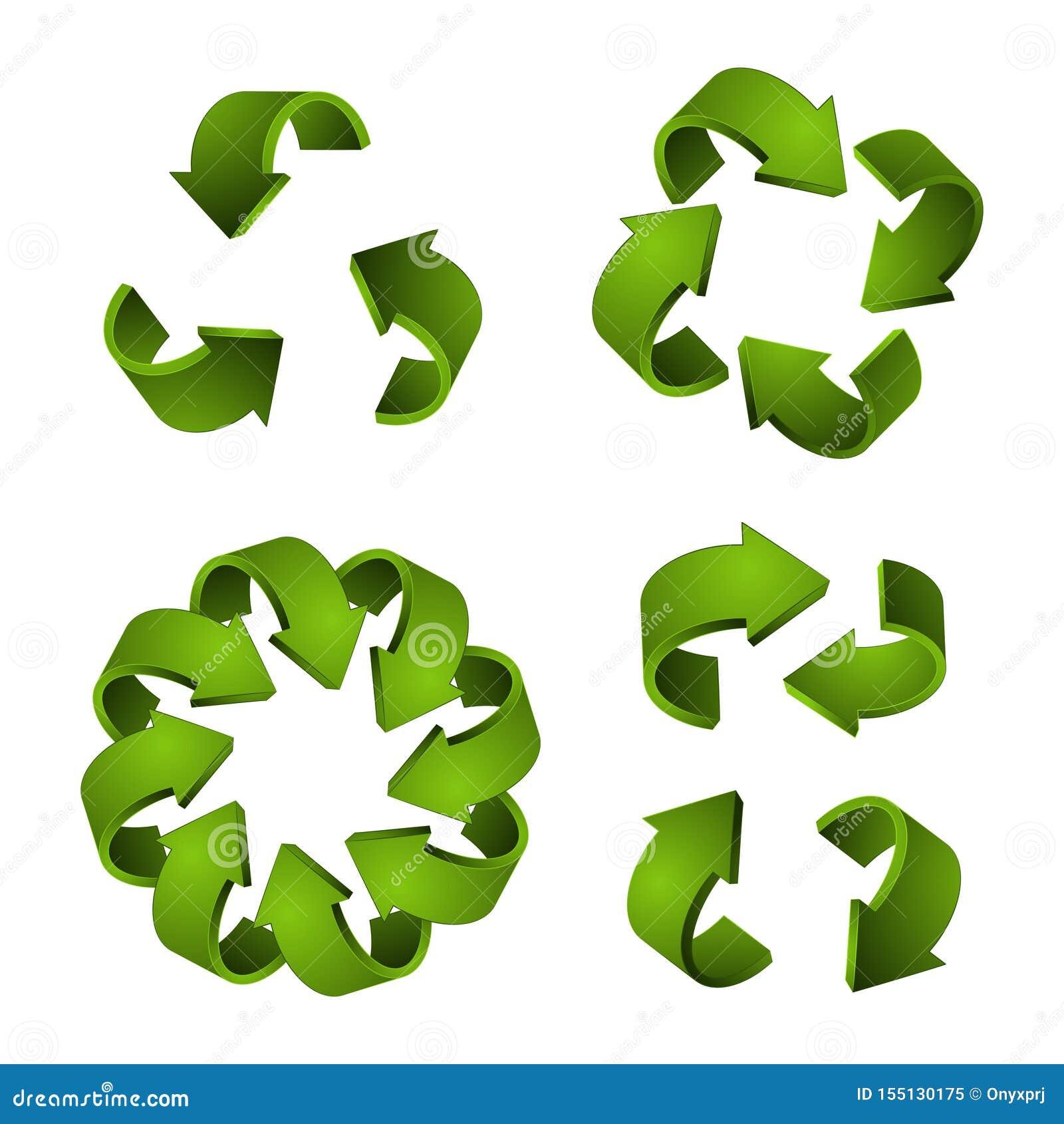 3D przetwarzają ikony Wektor zielone strzały, przetwarza symbole odizolowywających na białym tle