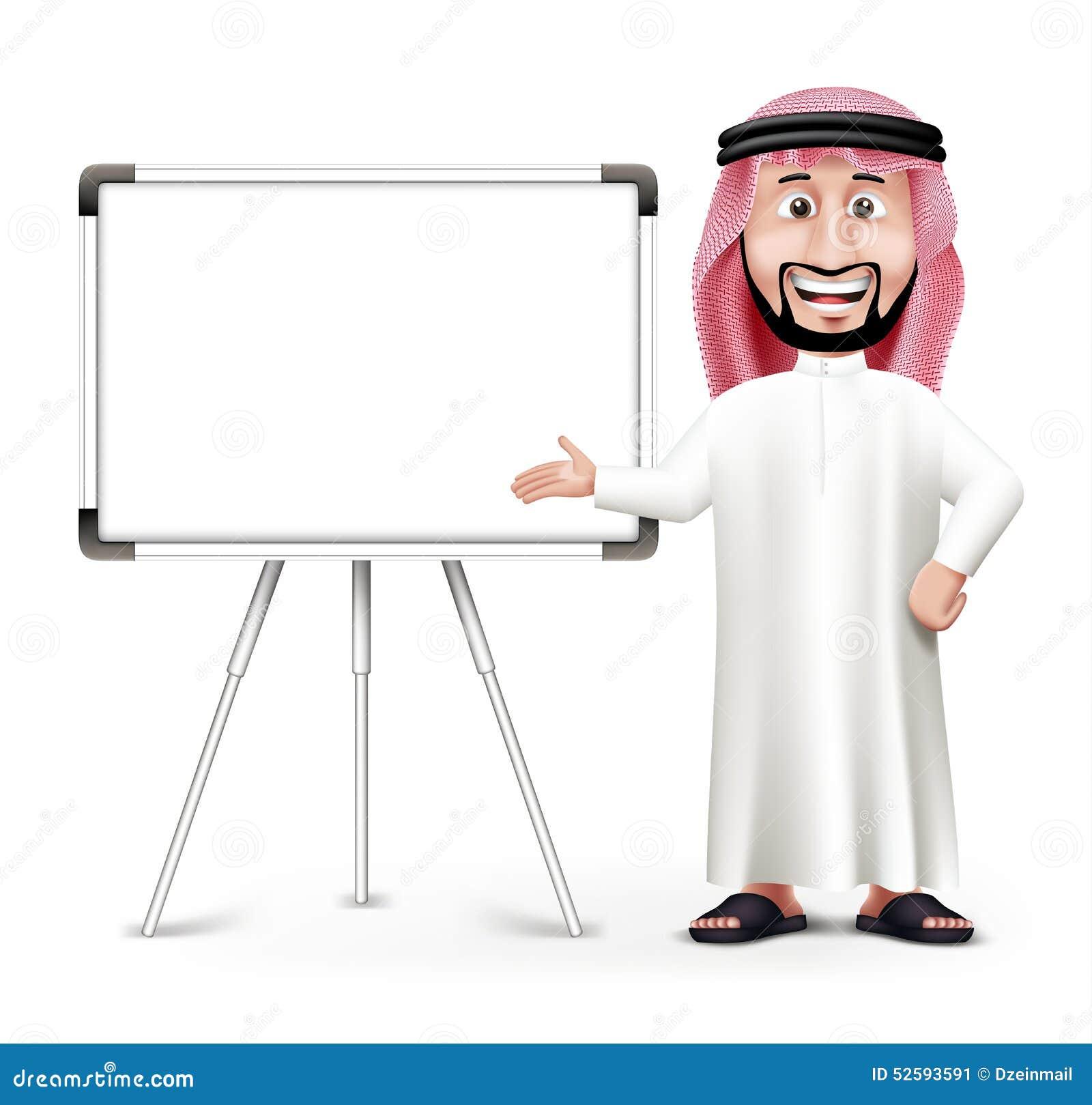 3D Przystojny Saudyjski mężczyzna w Tradycyjnej sukni