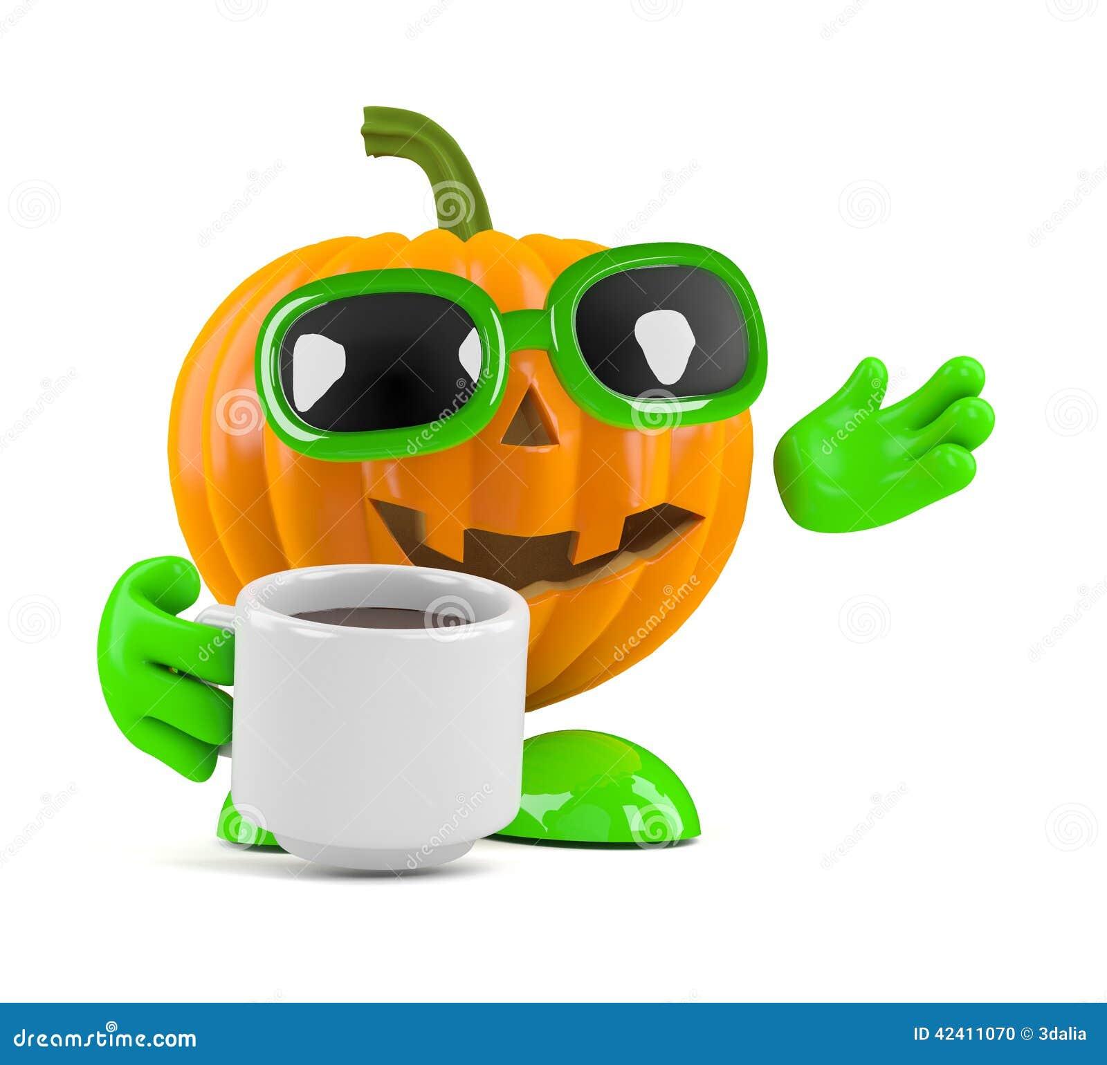 3d Pumpkin Man Has A Coffee Break Stock Illustration ...