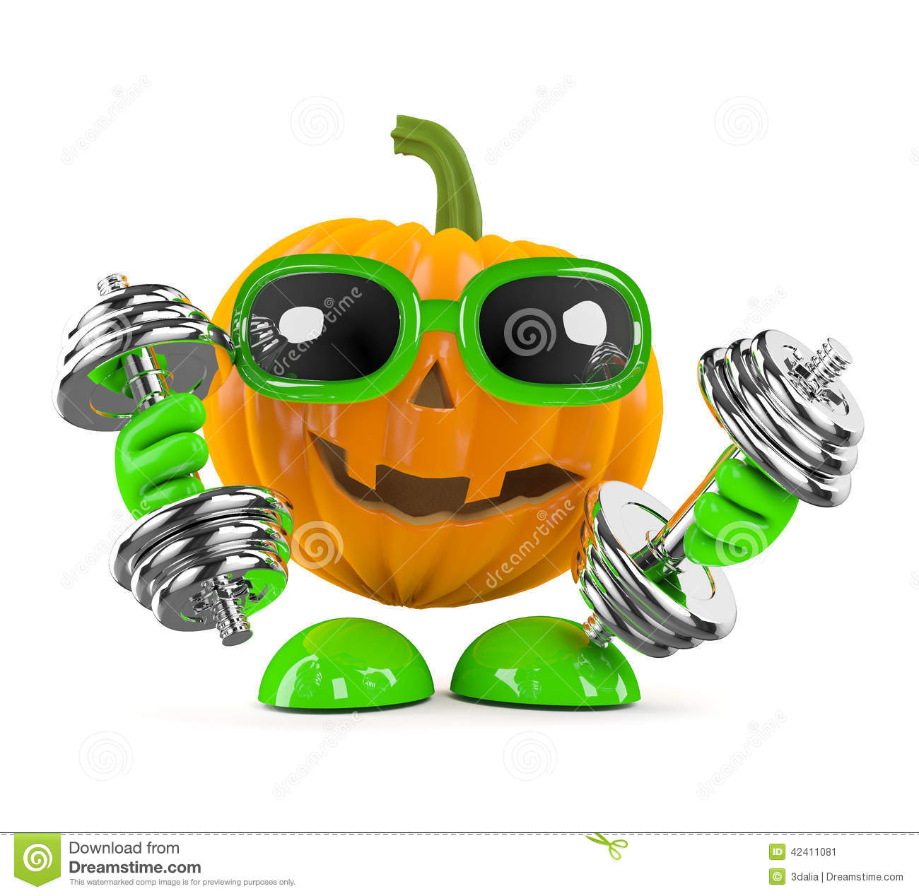 3d Pumpkin Man Works Out With Weights Stock Illustration