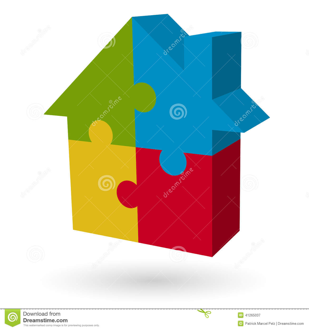 3D Puzzle House Stock Vector Image 41265037