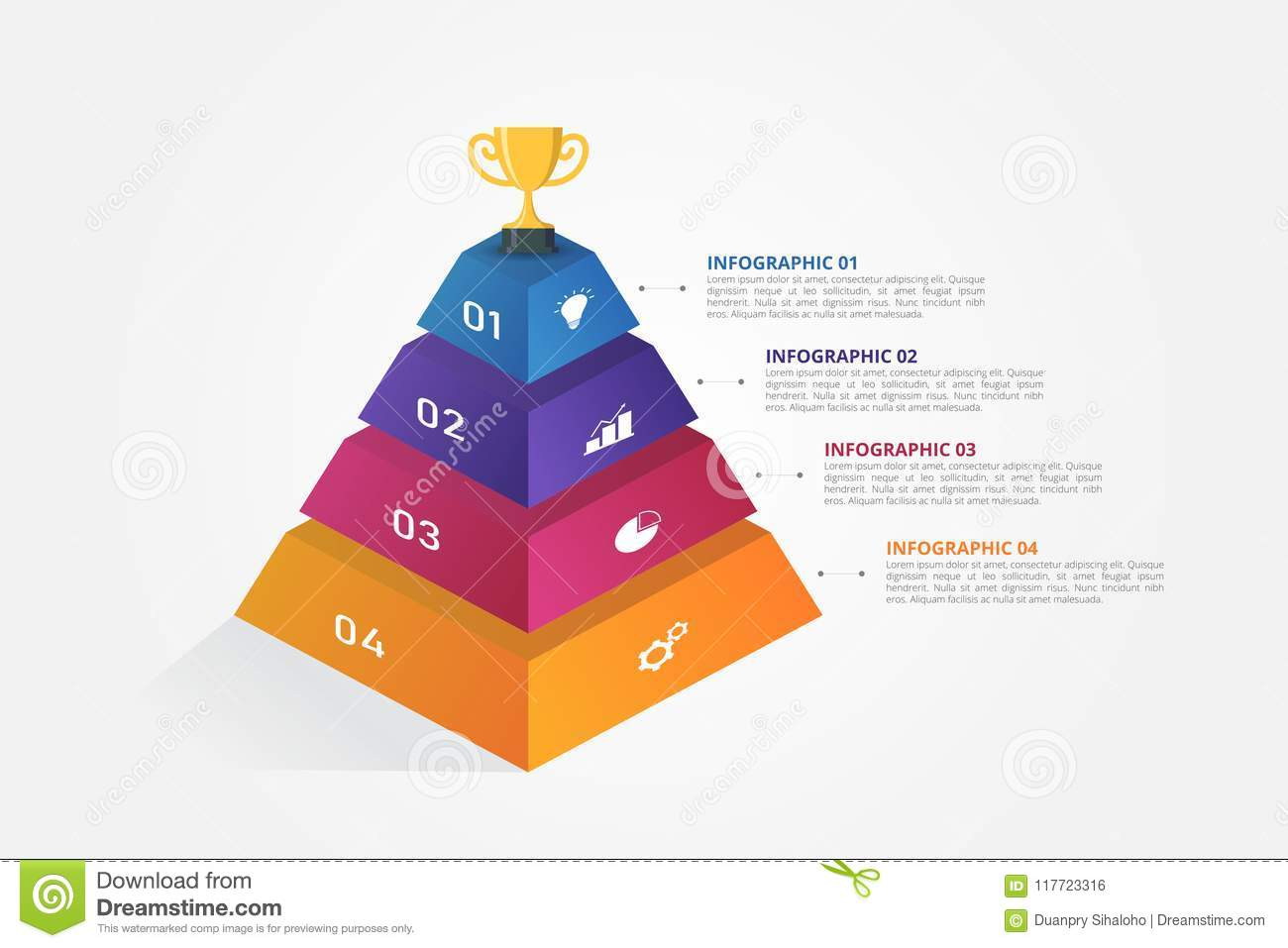 3d Pyramid Infographics Template For Business Education Web Design