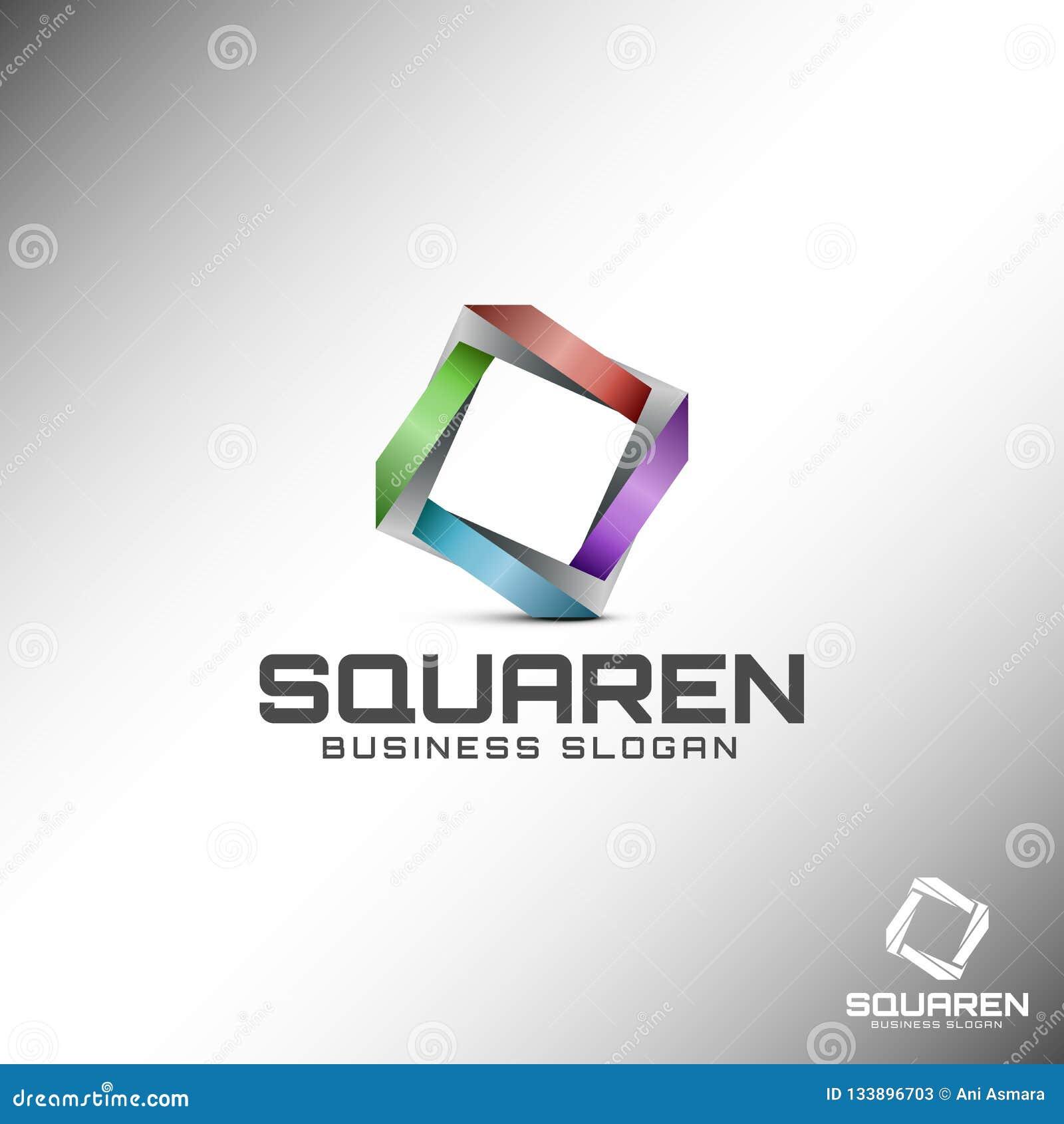 3D quadrado abstrato Logo Template