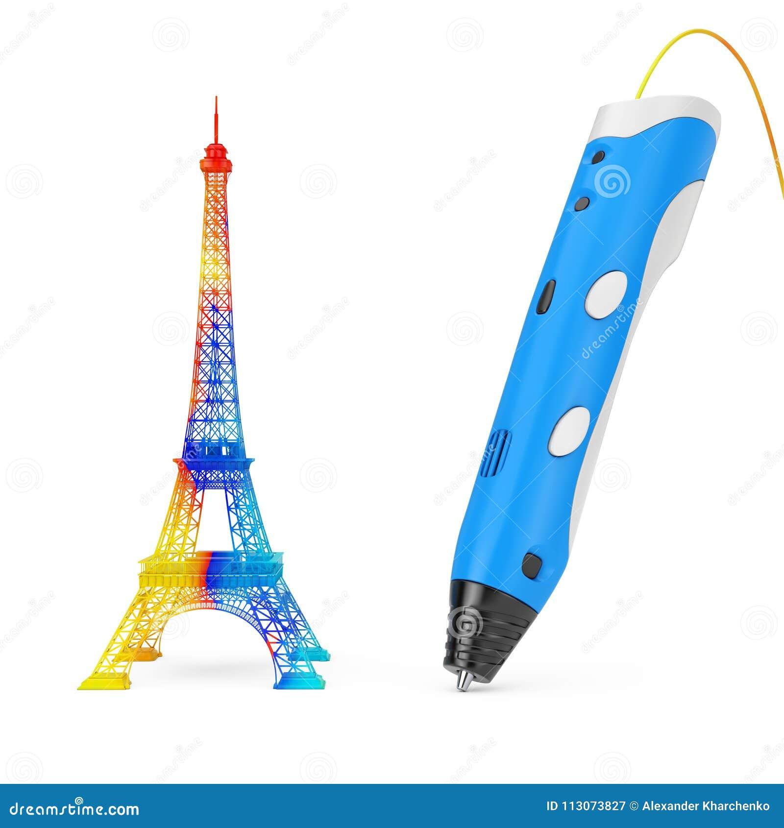 3d que imprime a Pen Print Color Eiffel Tower representación 3d