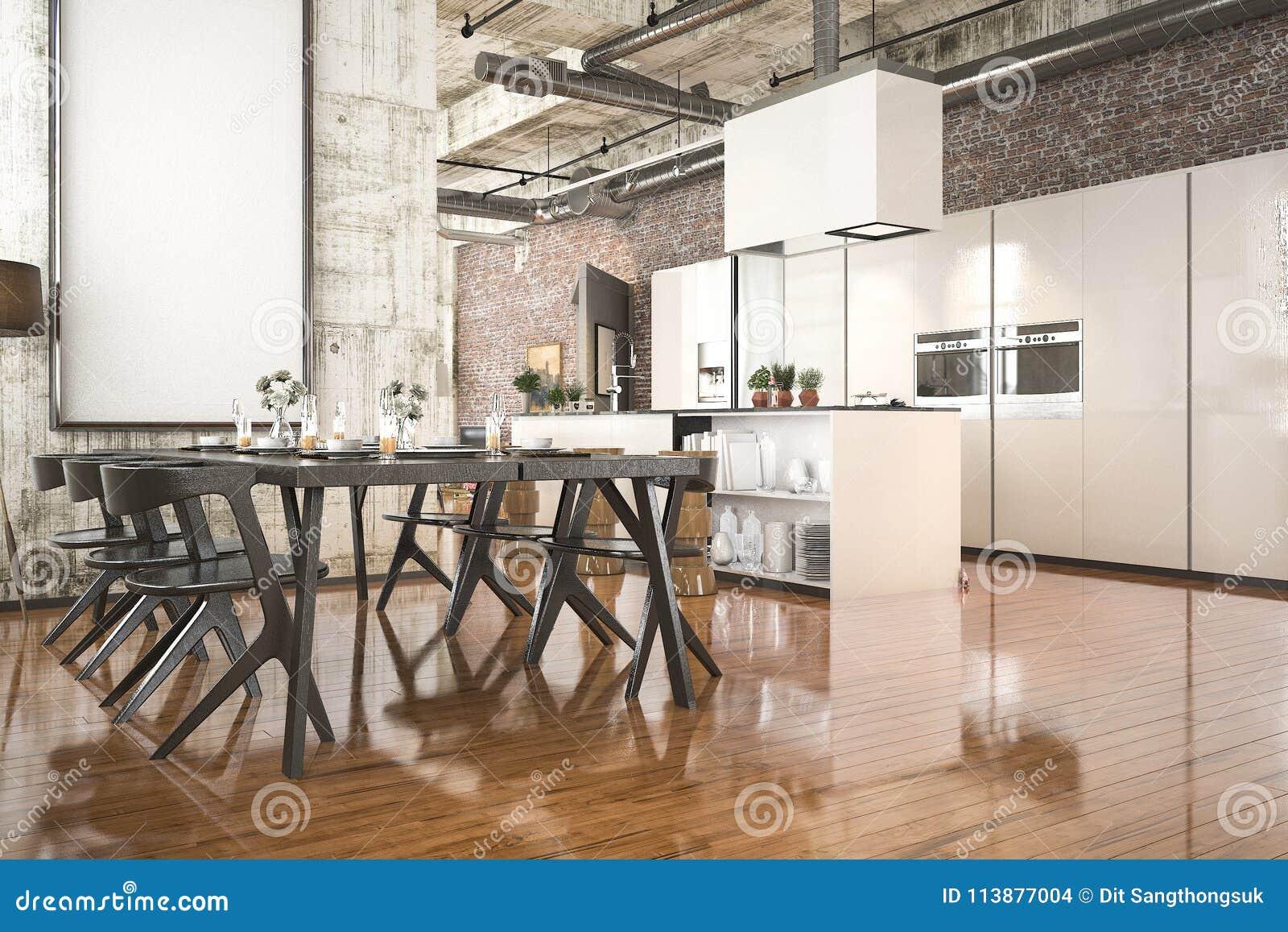 3d Que Rende A Cozinha Industrial Do Estilo Com Zona De Jantar De