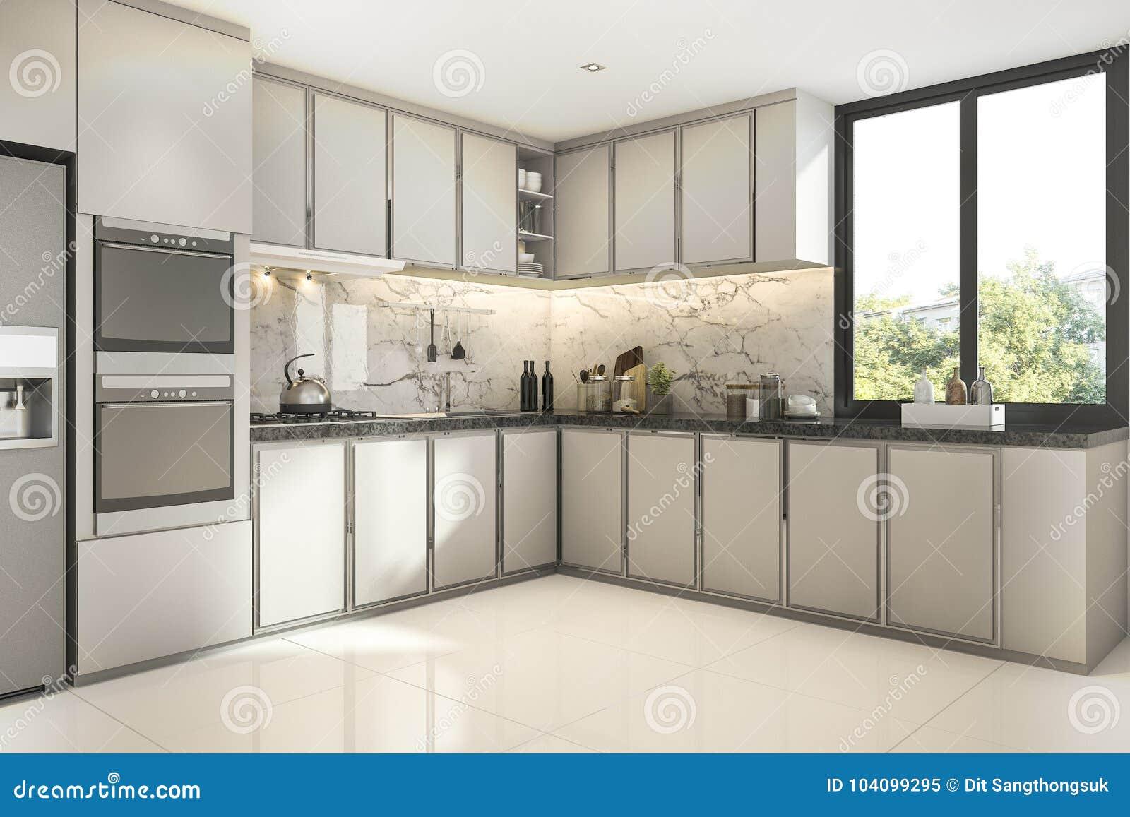3d Que Rende A Cozinha Moderna Bonita Com Decora O De M Rmore