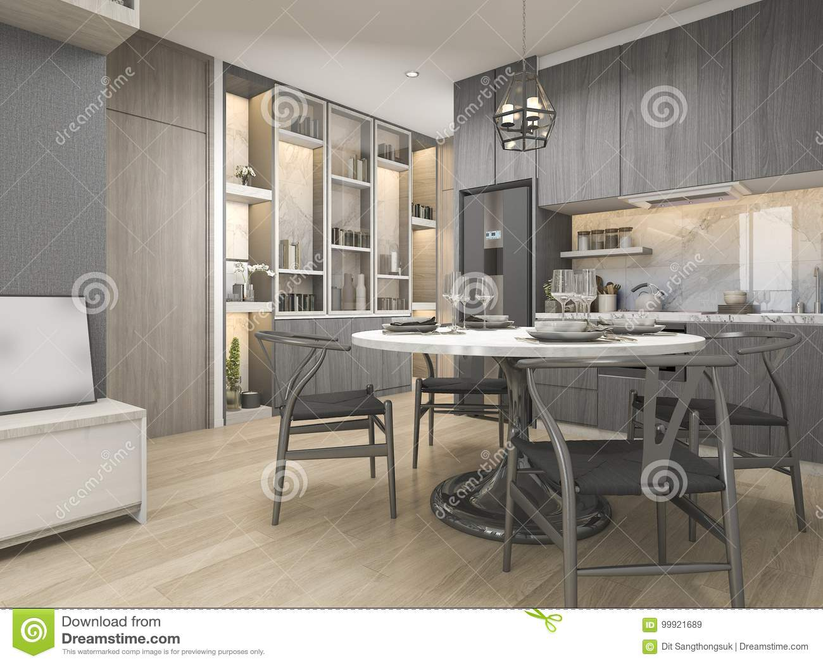 3d Que Rende A Cozinha Moderna E Luxuosa Branca Do Projeto Com Mesa