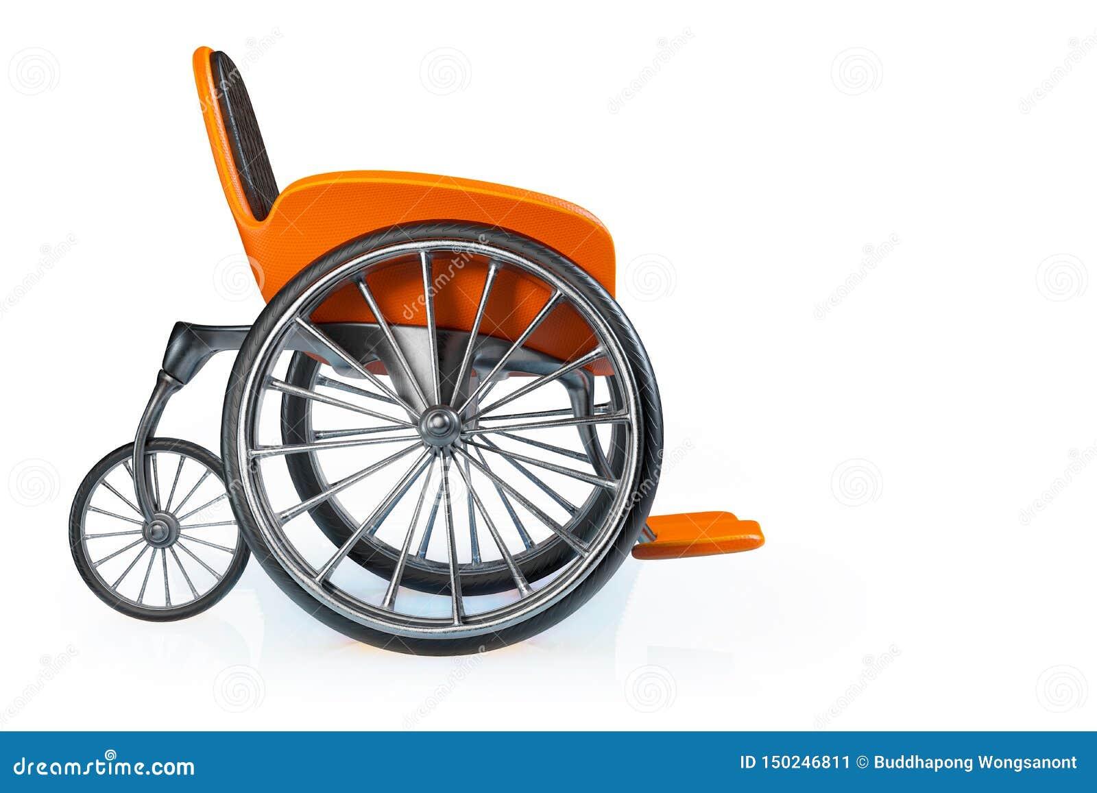 3d que rende a vista lateral da cadeira de rodas moderna alaranjada dos esportes isolada no fundo branco, trajetos de grampeament