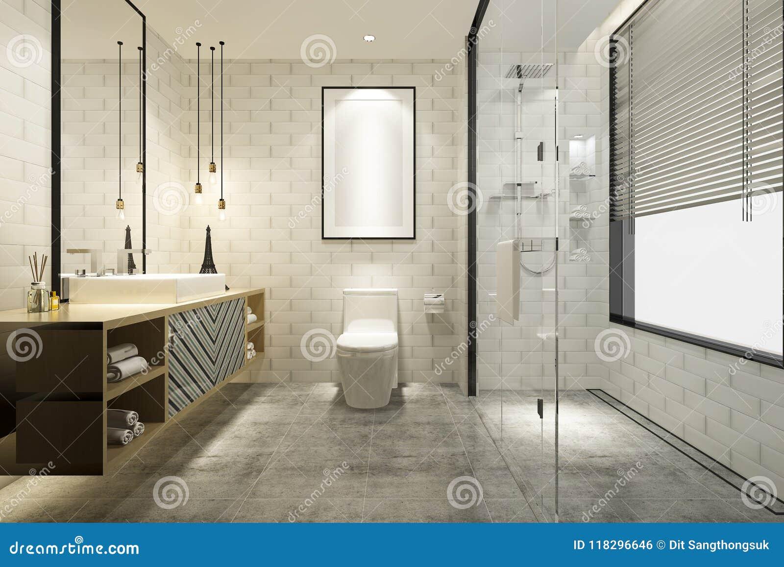 3d Que Rinde El Cuarto De Baño Moderno Con La Decoración De Lujo De ...