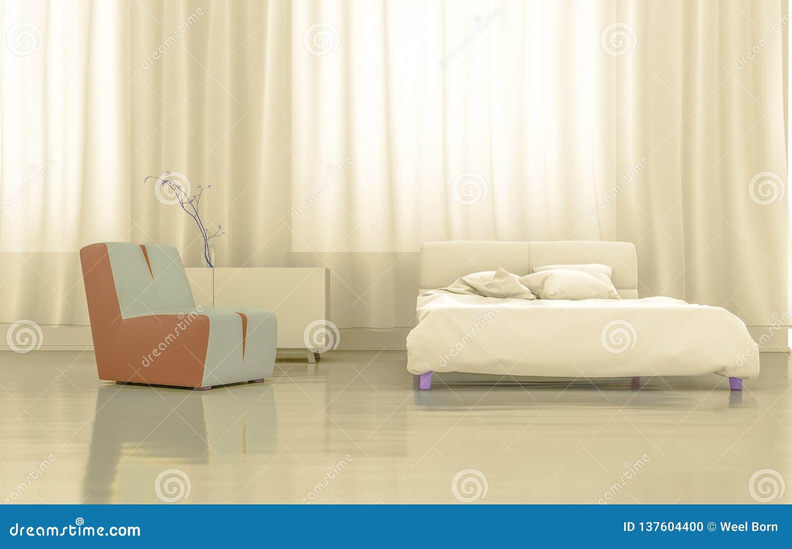 3D que rinde el dormitorio del oro