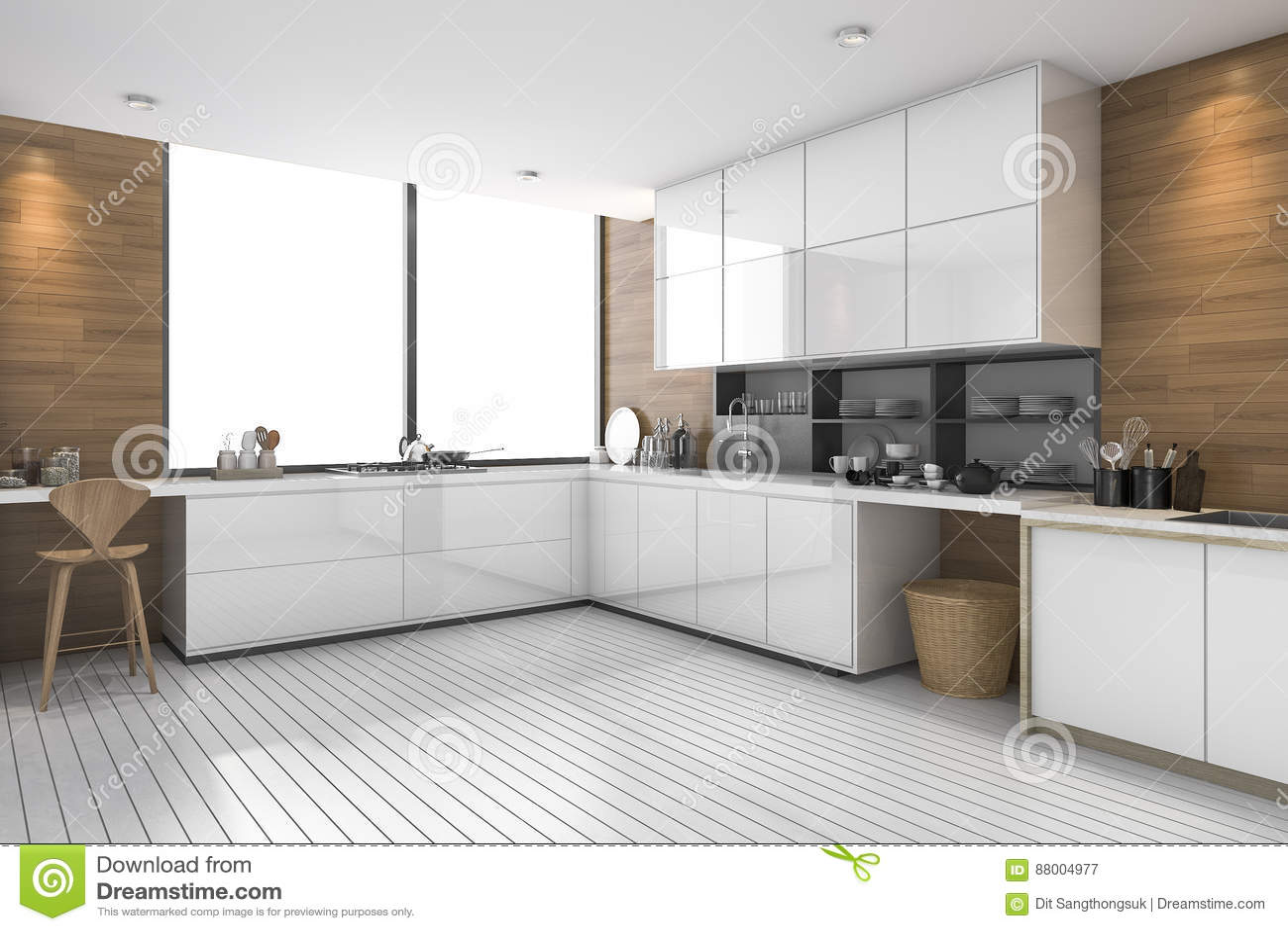 3d Que Rinde La Cocina étnica Moderna Blanca Con El Diseño De Madera ...