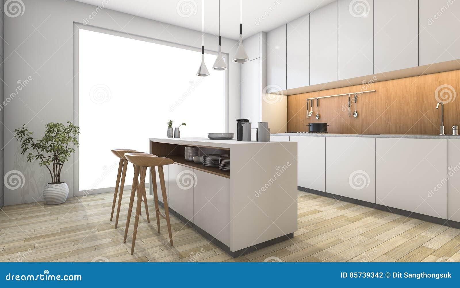 3d Que Rinde La Cocina Moderna Blanca Con La Barra De Madera Stock
