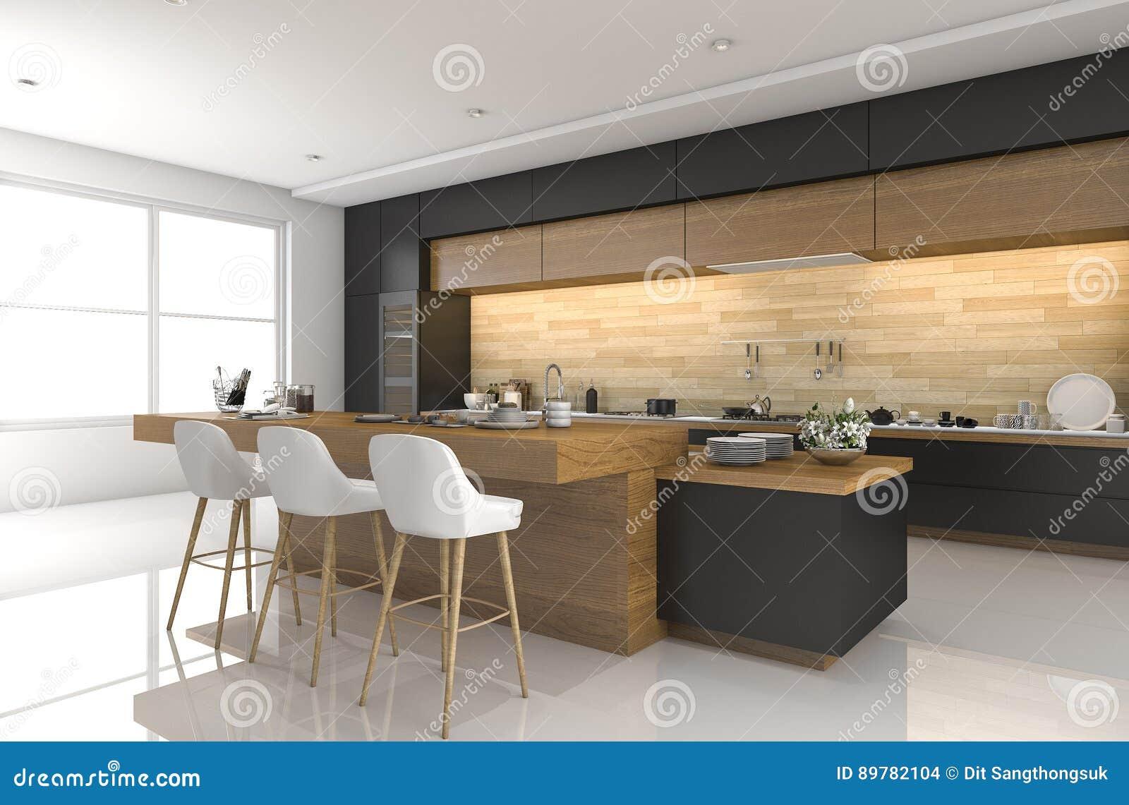 3d que rinde la cocina negra moderna con la decoraci n de - La cocina moderna ...
