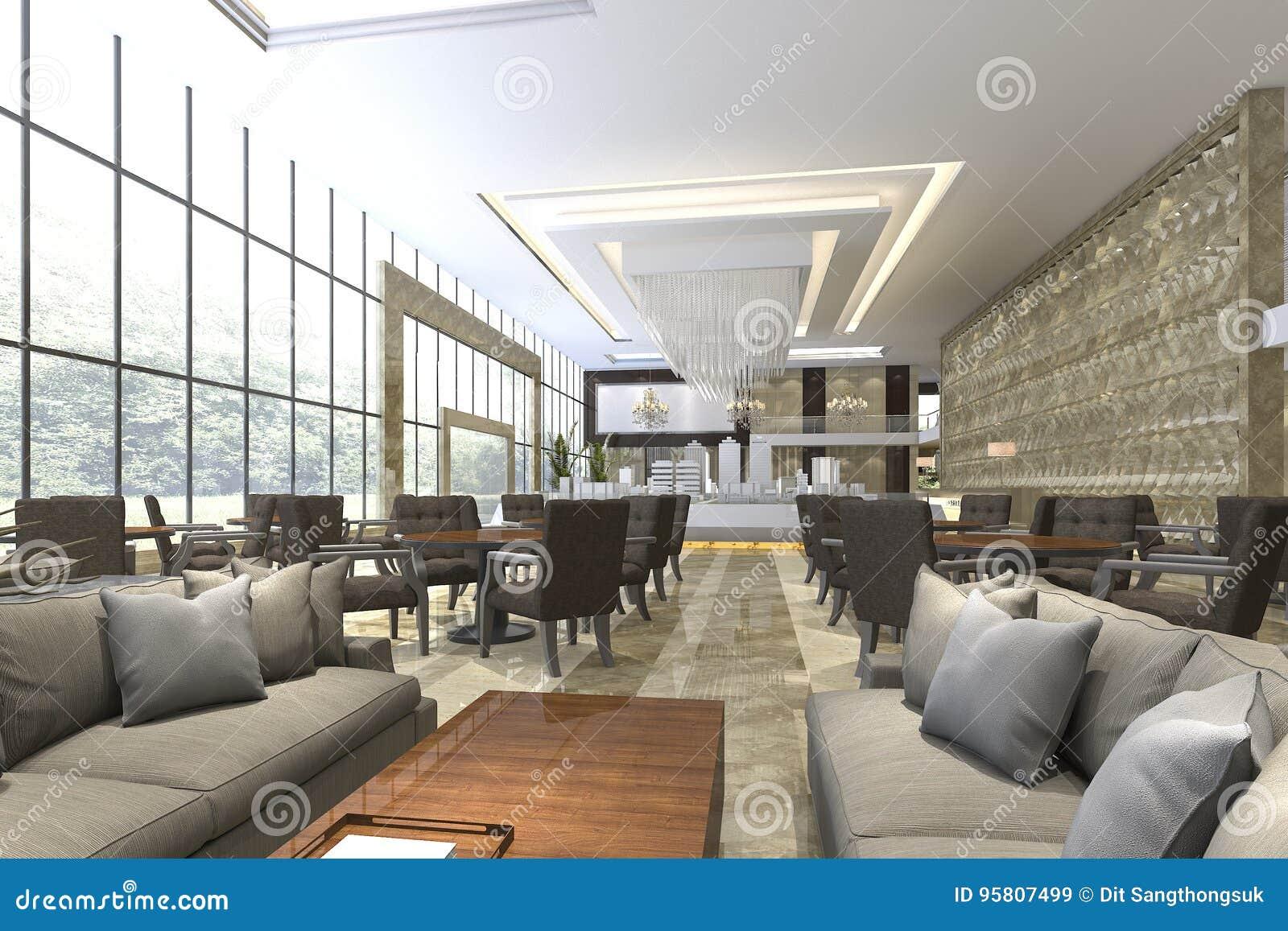 3d Que Rinde La Recepción Del Hotel De Lujo Y El Restaurante Del ...