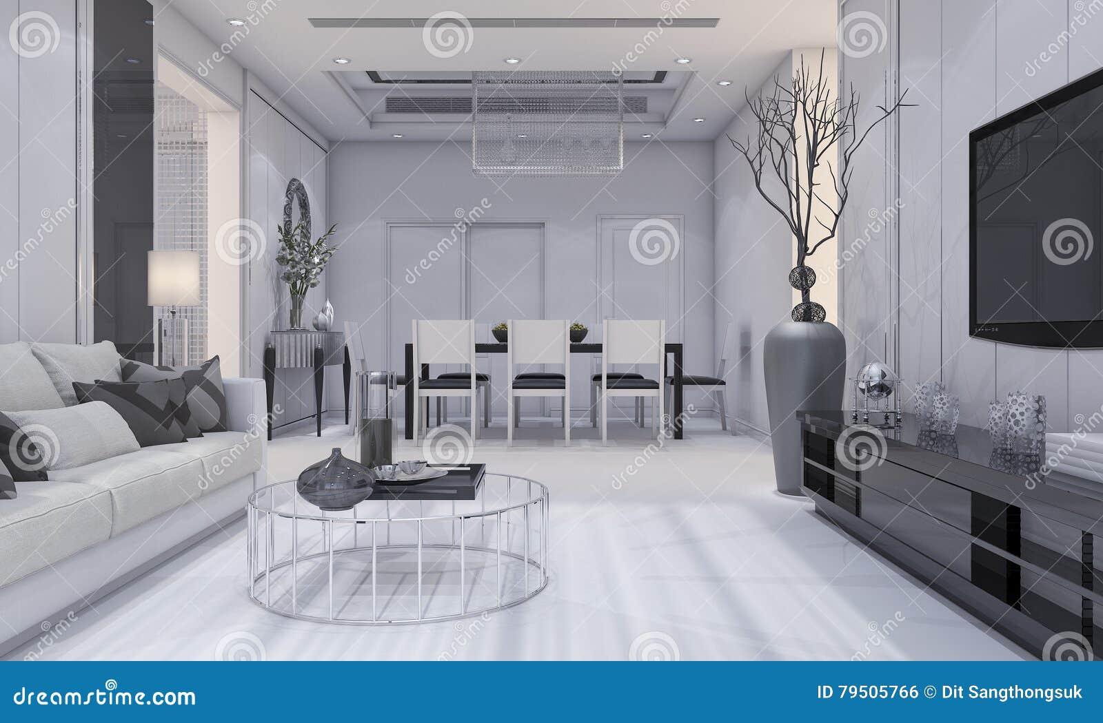3d que rinde la sala de estar de lujo agradable y comedor for Mesa de comedor en la sala de estar