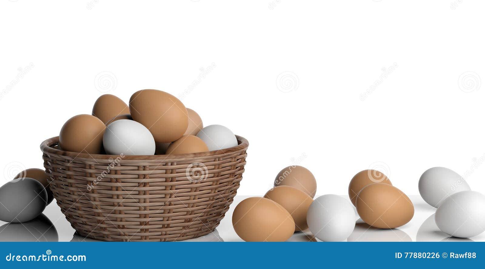 3d Que Rinde Los Huevos Blancos Y Marrones En Una Cesta Stock de ilustración