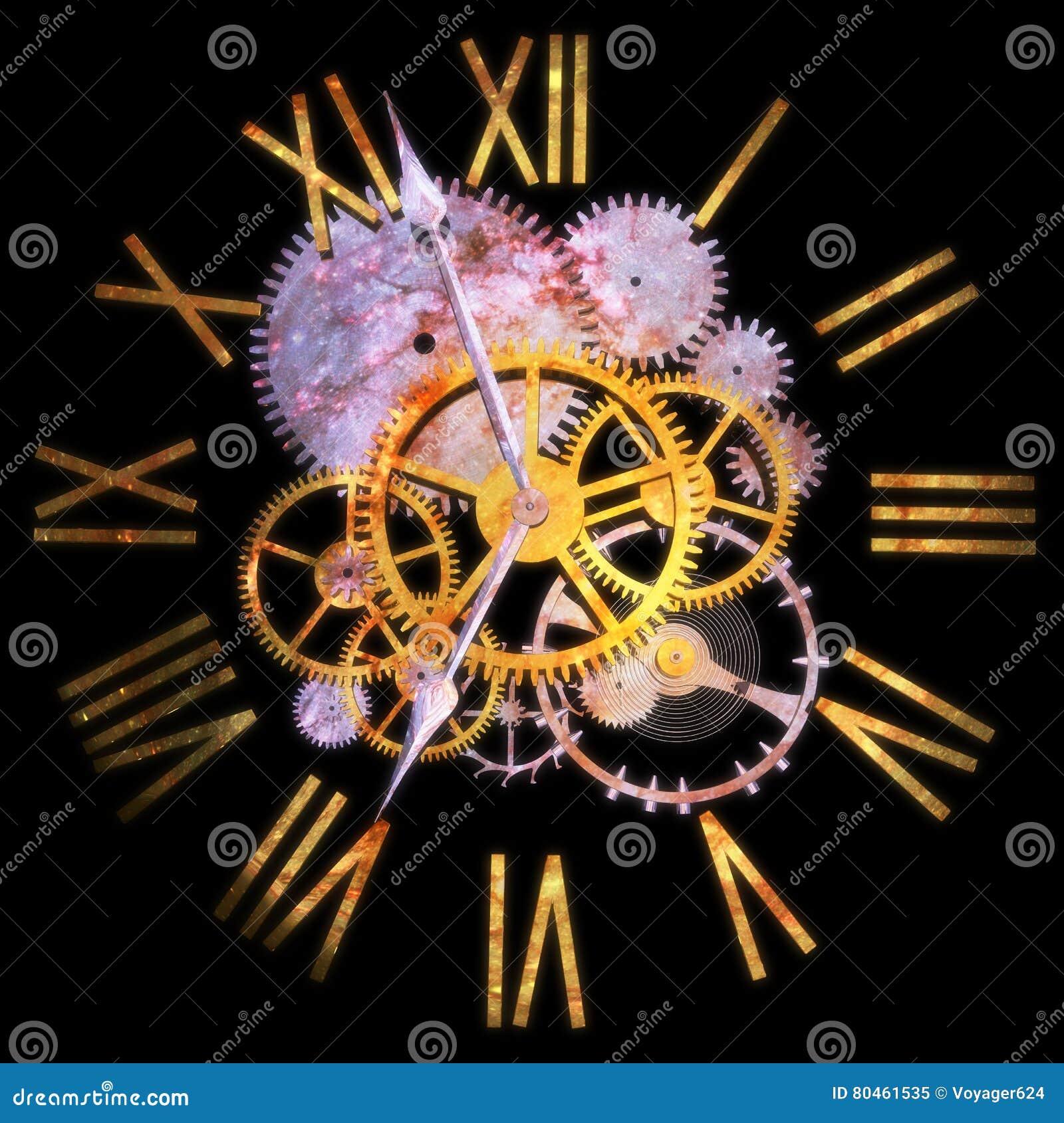 3D que rinde un reloj, el concepto de tiempo y el universo