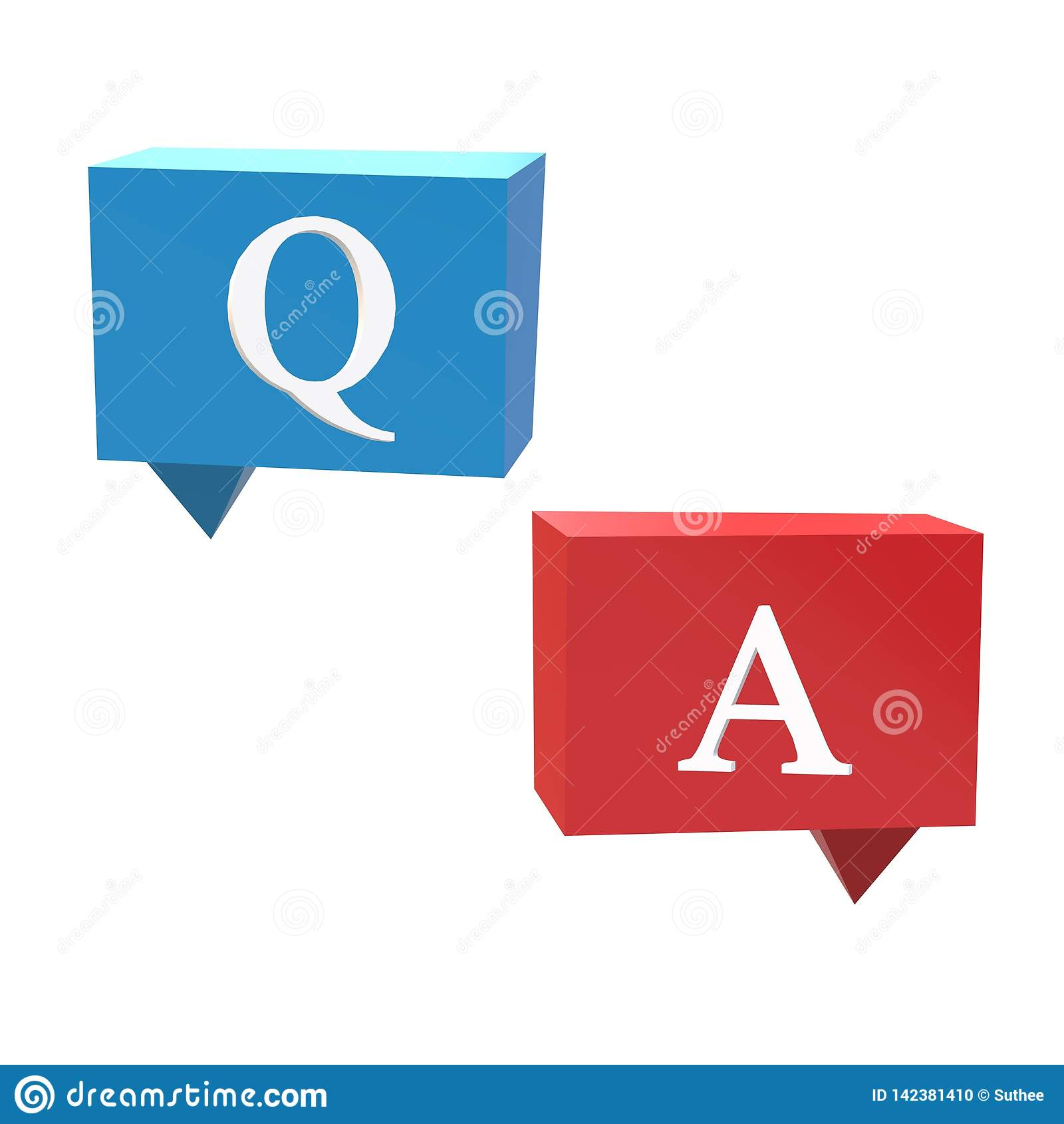 3D Questions And Answers Icon On White Background  Flat