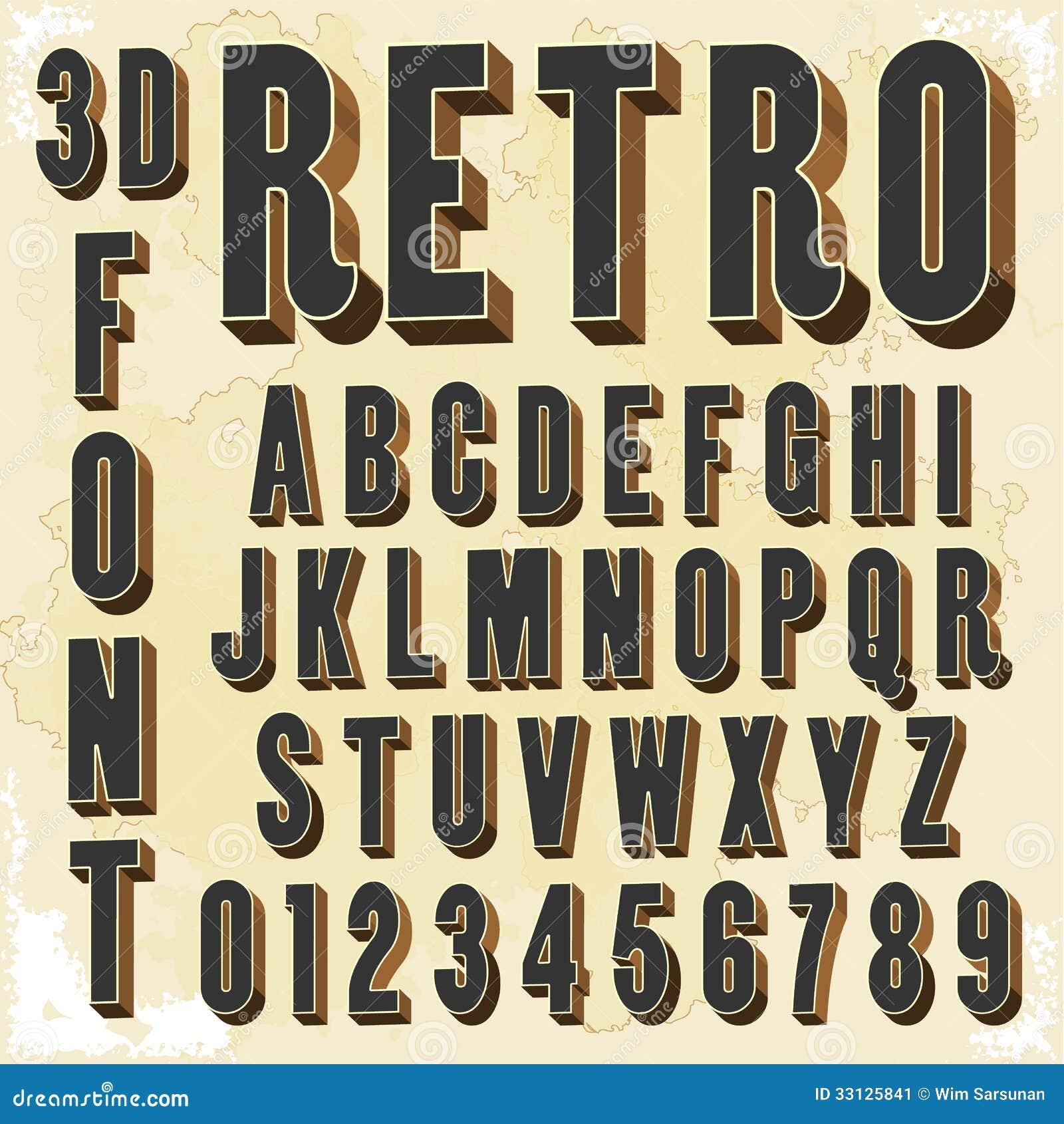 Hervorragend Rétro Type Police, Typographie De Vintage. Illustration de Vecteur  DD33