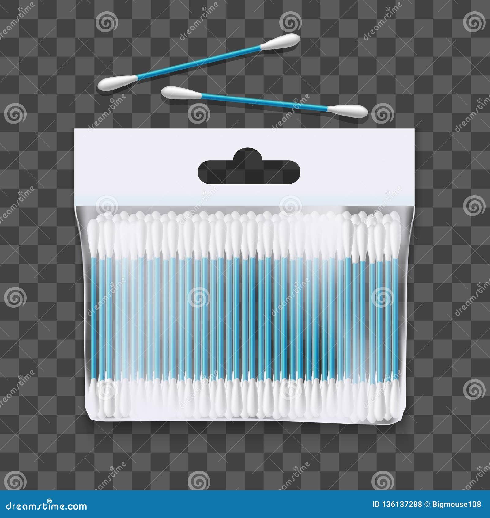 3d réaliste a détaillé le paquet de bourgeons de coton Vecteur