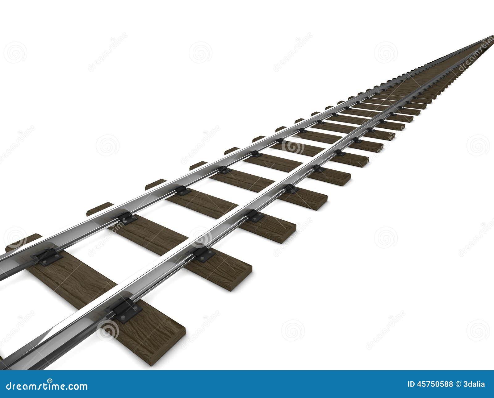 3d Railway tracks stock illustration  Illustration of isolated