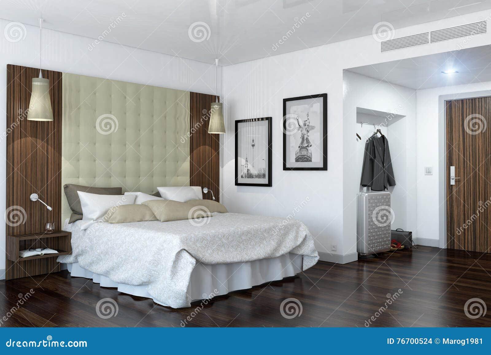 3d rappresentazione - camera di albergo - camera da letto