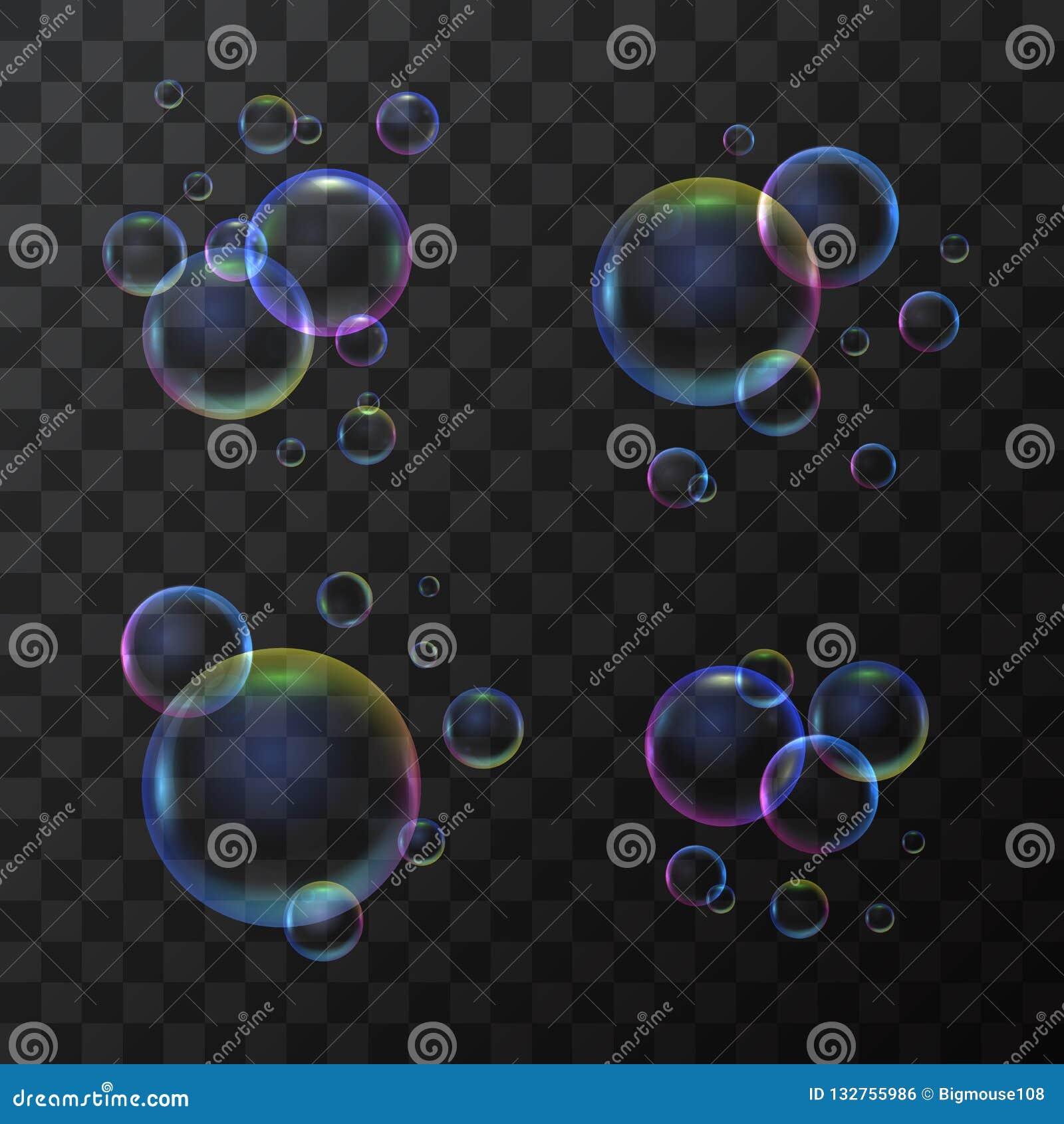 3d realístico detalhou a bolha de sabão ajustada em um fundo transparente Vetor