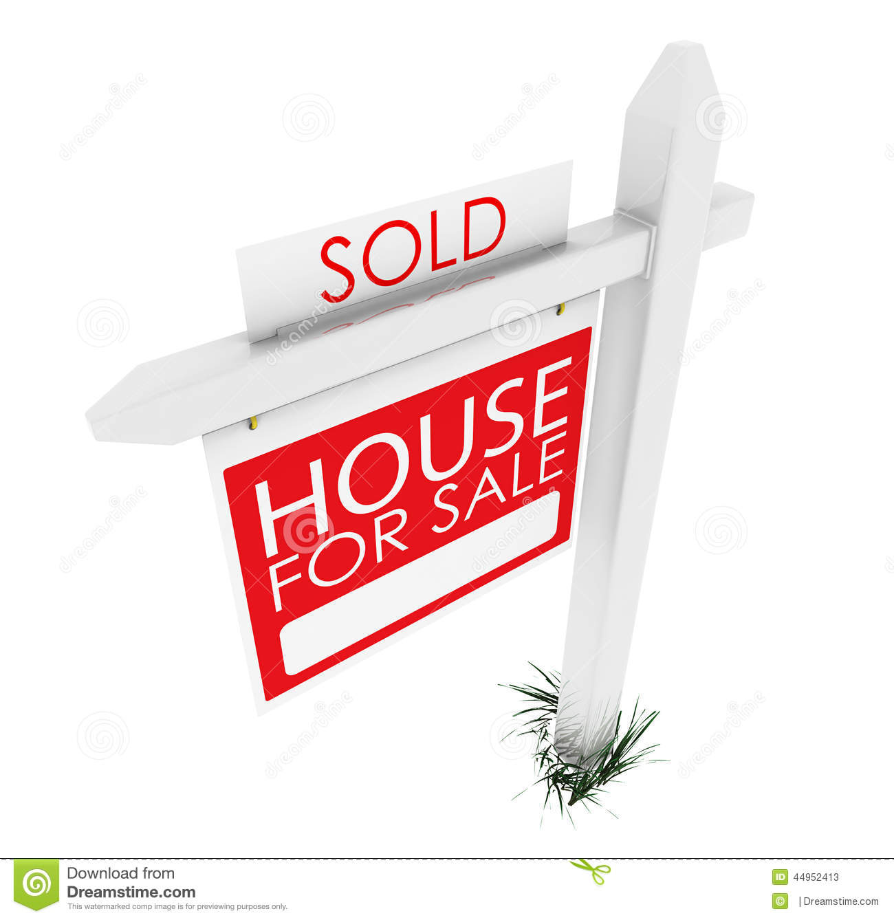 For Sale Sold Sign: 3d: Real Estate Sign: Home Sold Stock Illustration
