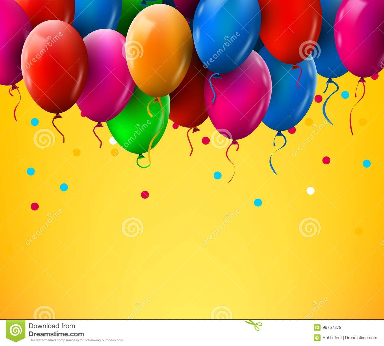 3d realistic colorful bunch of birthday balloons flying for party