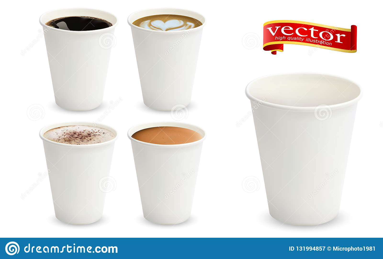 3d Realistic Different Sorts Of Coffee In White Cups View From The