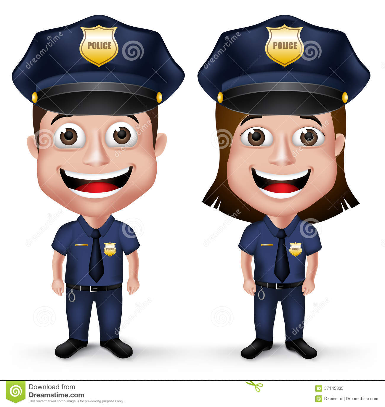 Small Cute House Plans 3d Realistic Friendly Police Characters Policeman And