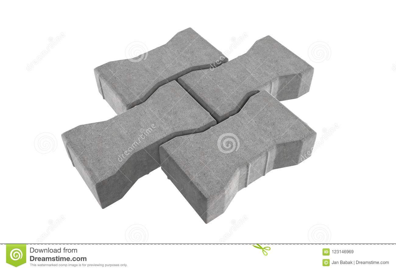Render of three grey lock paving bricks. Isolated on white background.