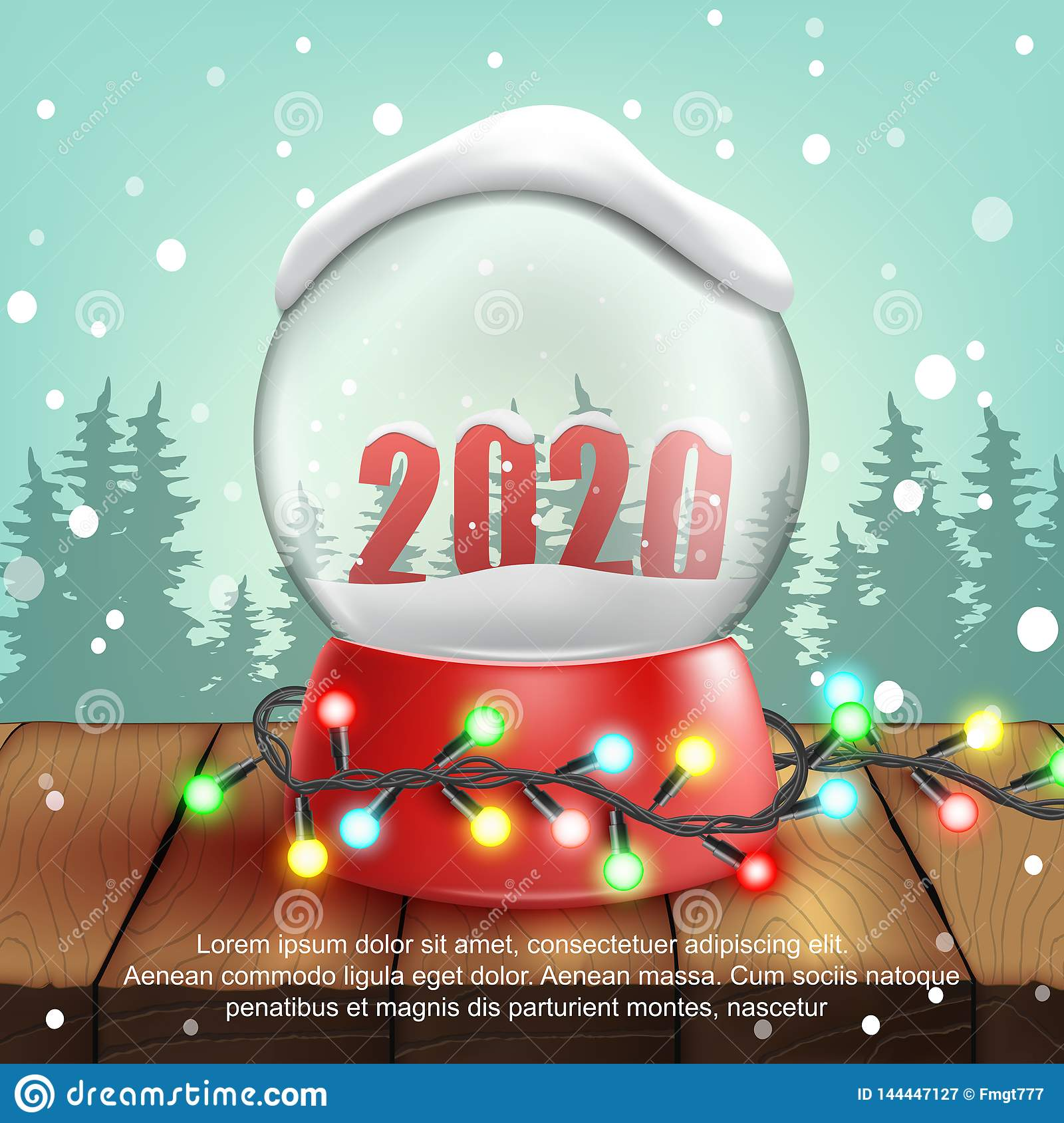 3d realistic Snow Ball with text 2020. Vector