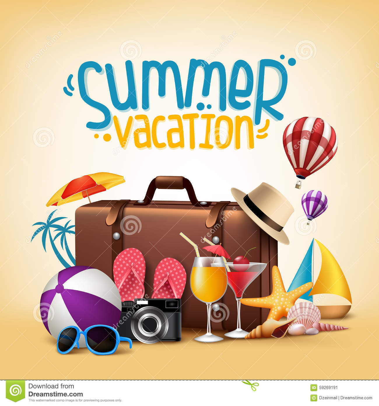 3d Realistic Summer Vacation Poster Design For Travel