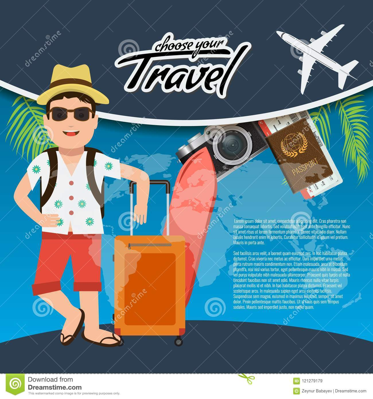 3d realistic travel and tour creative poster design with realistic 3d realistic travel and tour creative poster design with realistic airplane mascot man character gumiabroncs Images