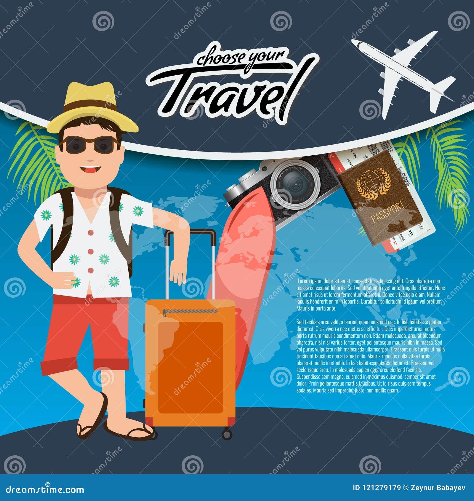 3D Realistisch Reis en Reis creatief Afficheontwerp met realistisch vliegtuig, het karakter van de mascottemens, wereldkaart, pas